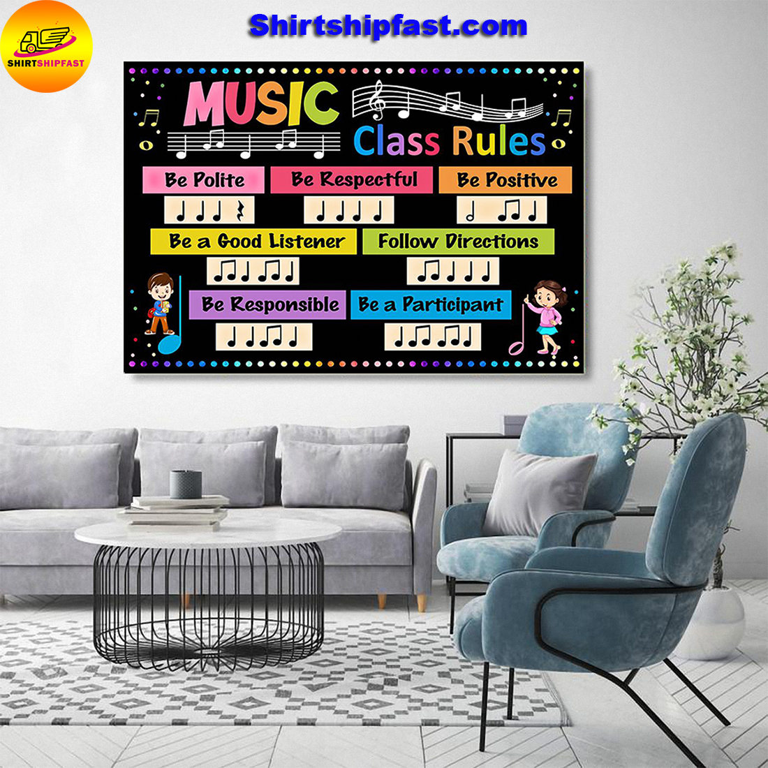 Music class rules be polite be respectful poster