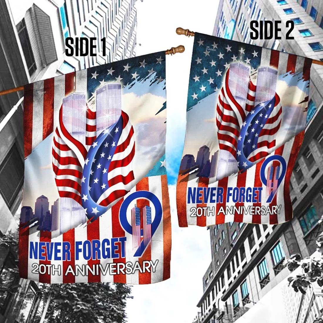 Never forget 9 11 20th anniversary flag
