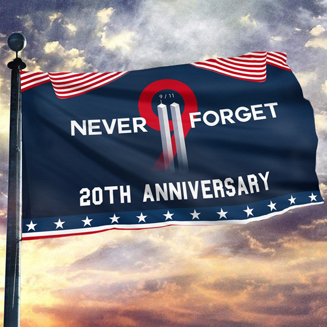 Never forget 9/11 two towers 20th anniversary flag