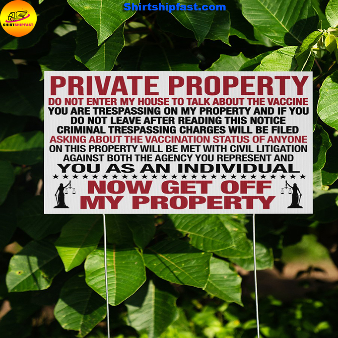PRIVATE PROPERTY DO NOT ENTER MY HOUSE TO TALK ABOUT THE VACCINE DOORMAT