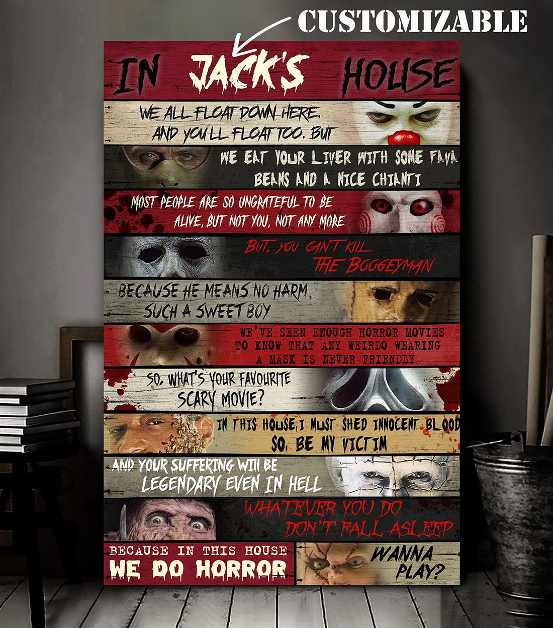 Personalized In this house horror characters wall art poster and canvas