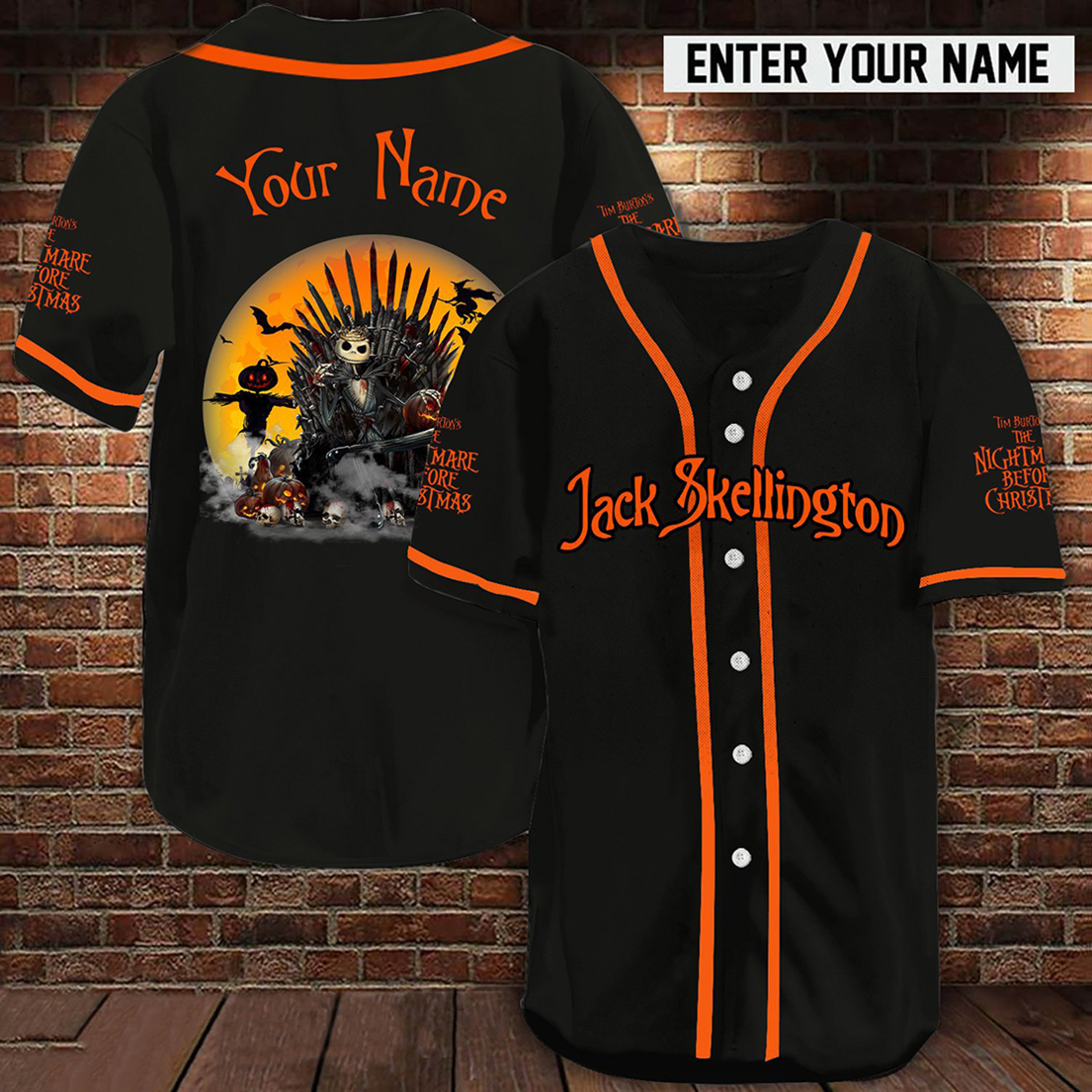 Personalized name Jack Skellington Game Of Thrones baseball jersey shirt - Picture 1