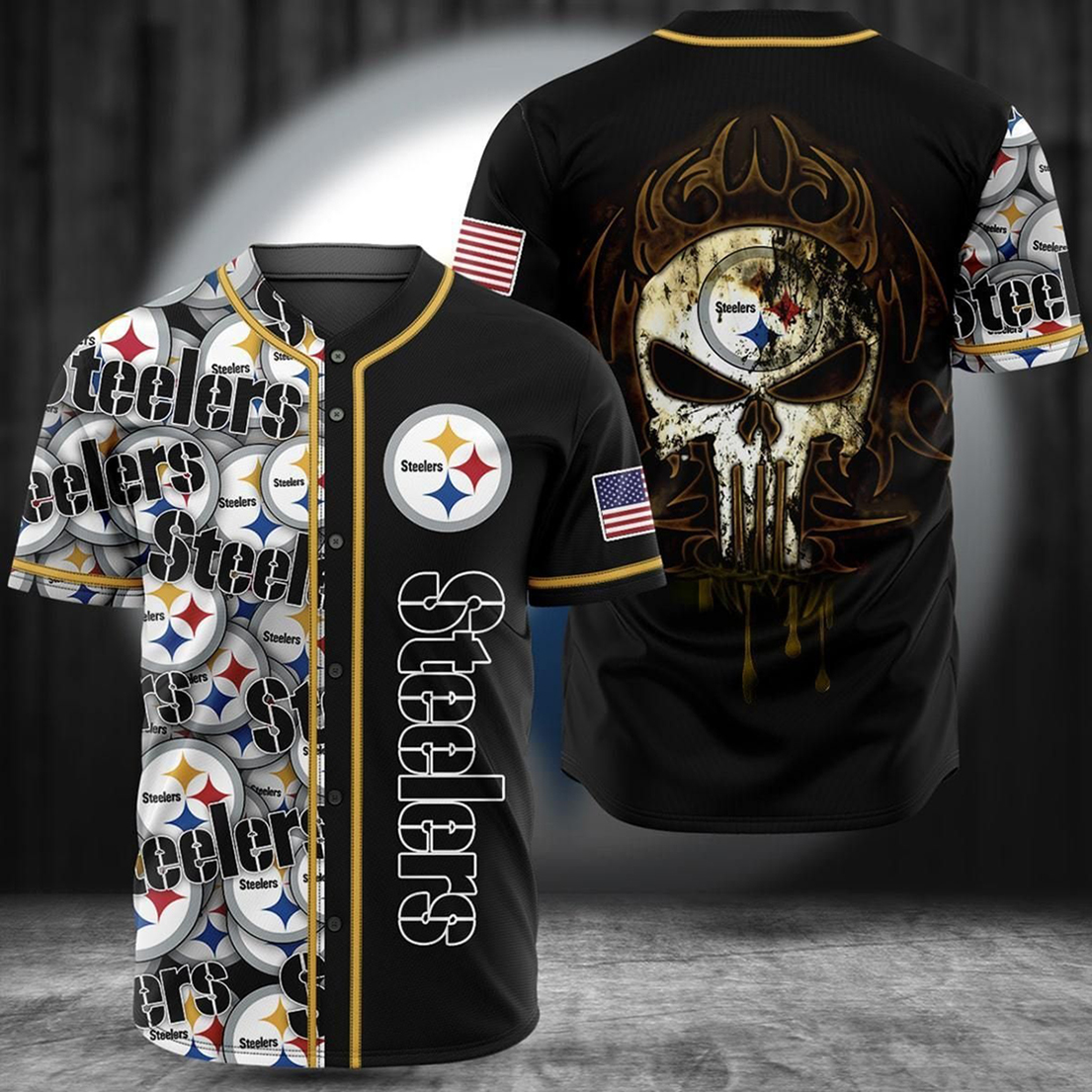 Pittsburgh steelers punisher skull jersey shirt - Picture 1