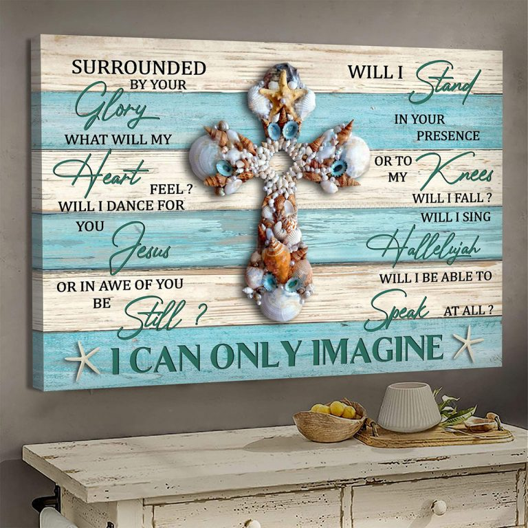 Seashell cross I can only Imagine Jesus canvas print