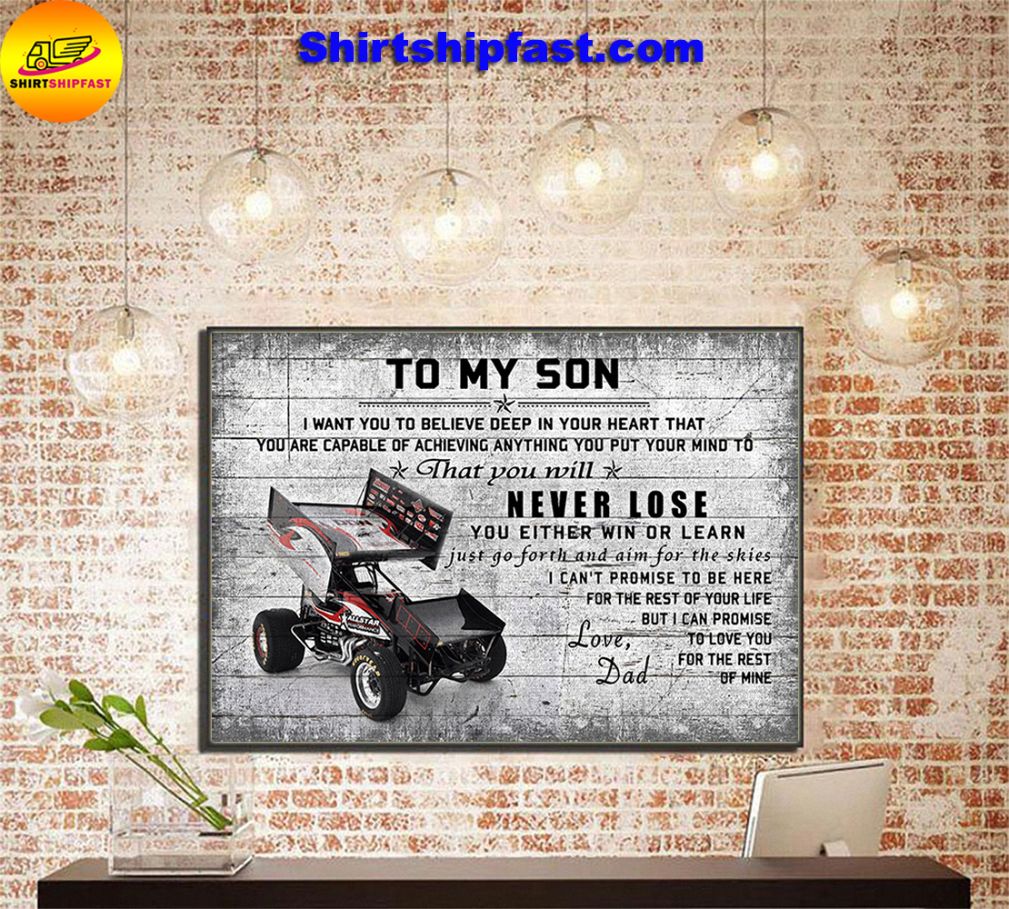 Sprint car To my son love dad canvas - Picture 2