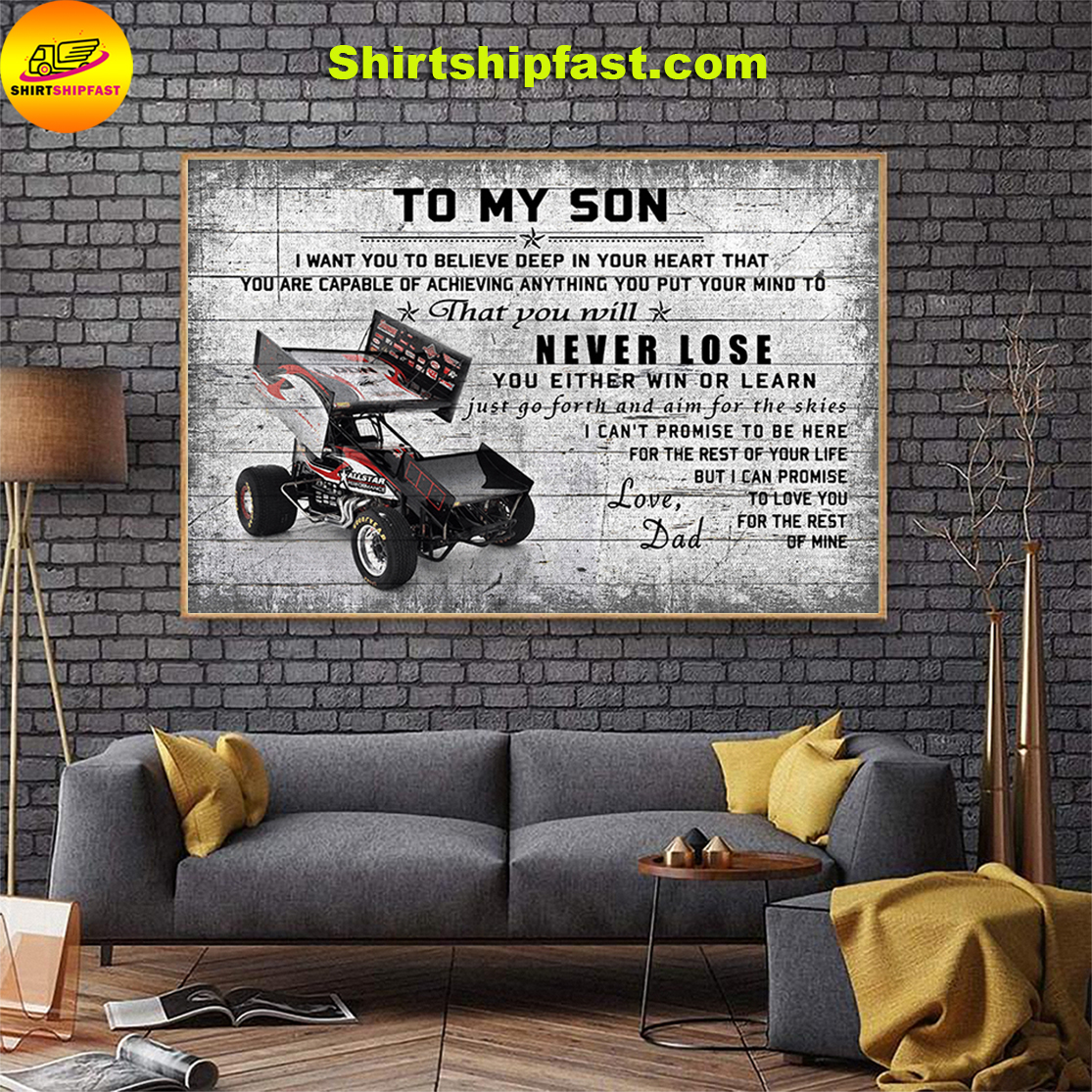 Sprint car To my son love dad canvas - Picture 3