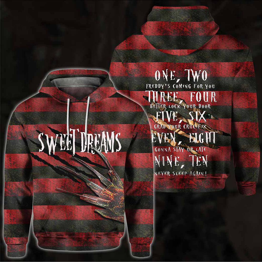 Sweet Dreams One Two Freddy's Coming For You All Over Print Hoodie and T-shirt