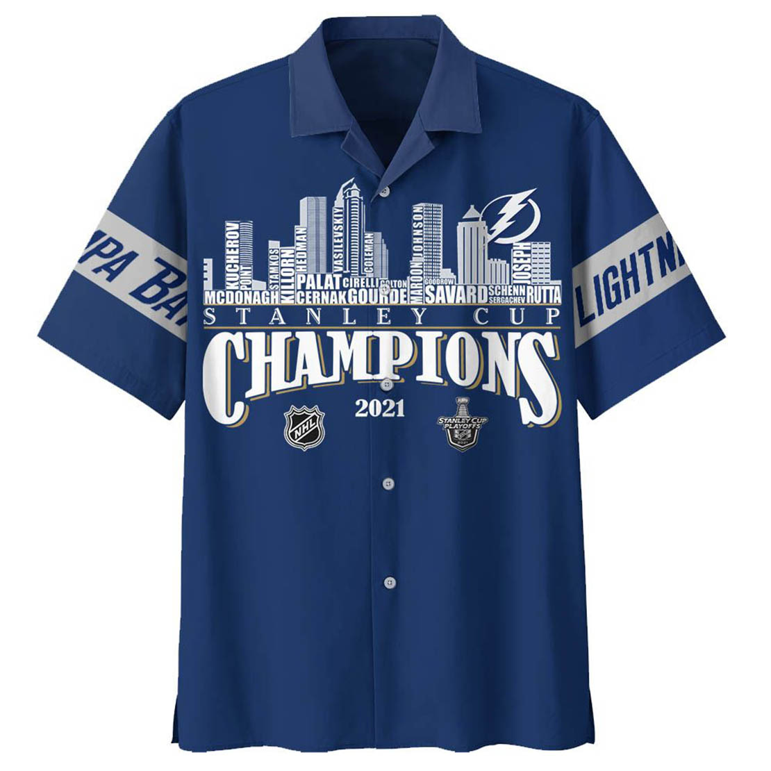 Tampa Bay Lightning NHL Stanley Cup Champions 2021 hawaiian shirt - Picture 1
