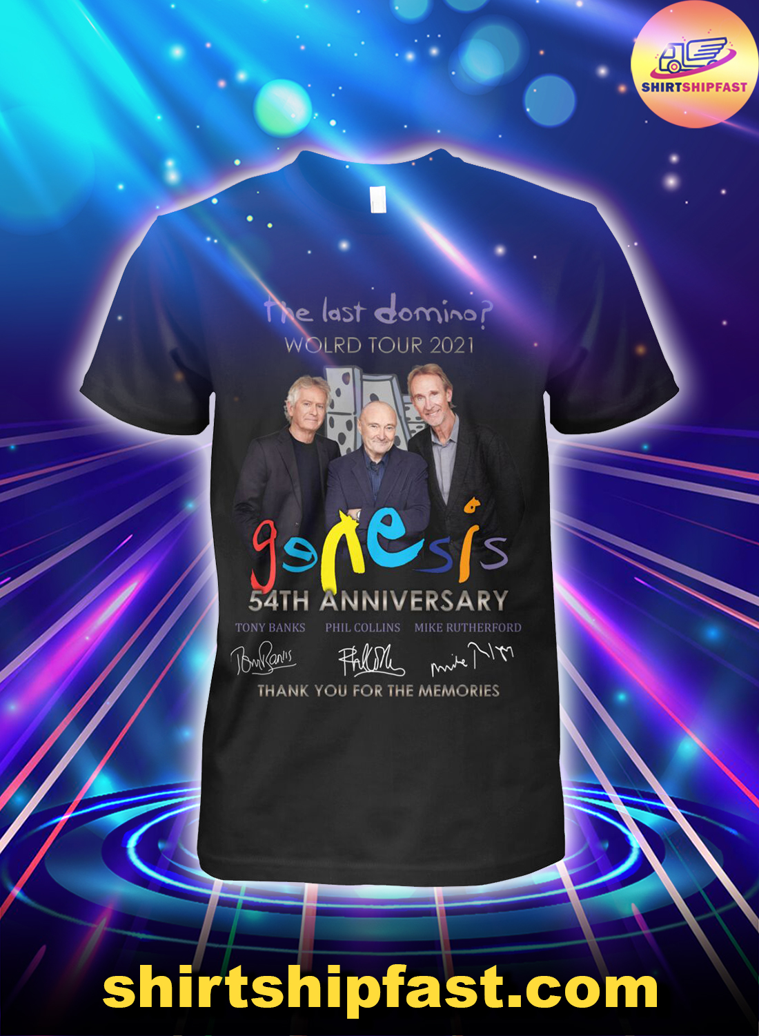The last domino world tour 2021 Genesis 54th anniversary thank you for the memories shirt