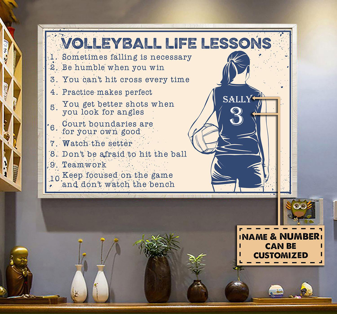 Volleyball life lessons custom name poster