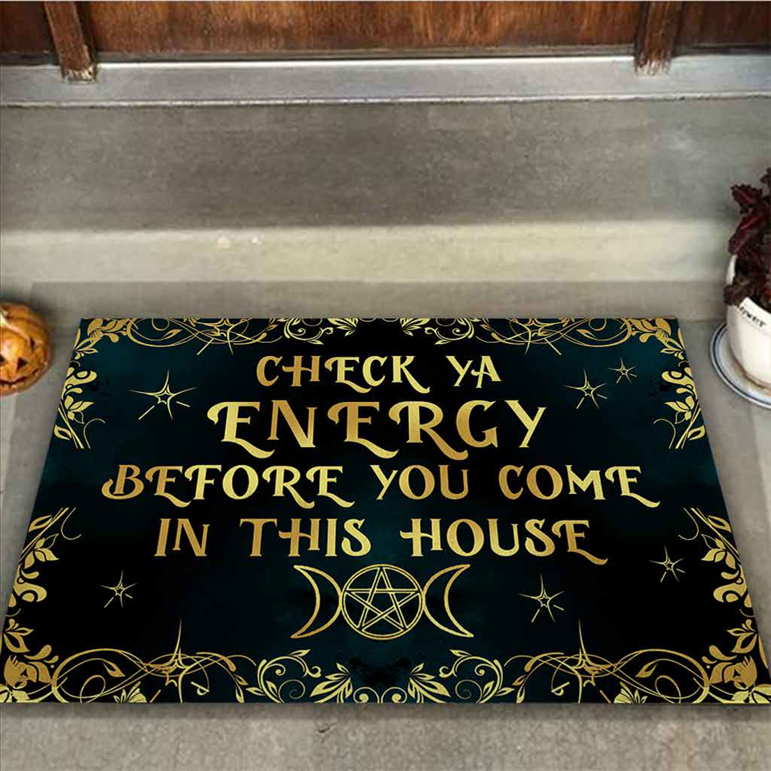 Witch check ya energy before you come in this house doormat - Picture 1
