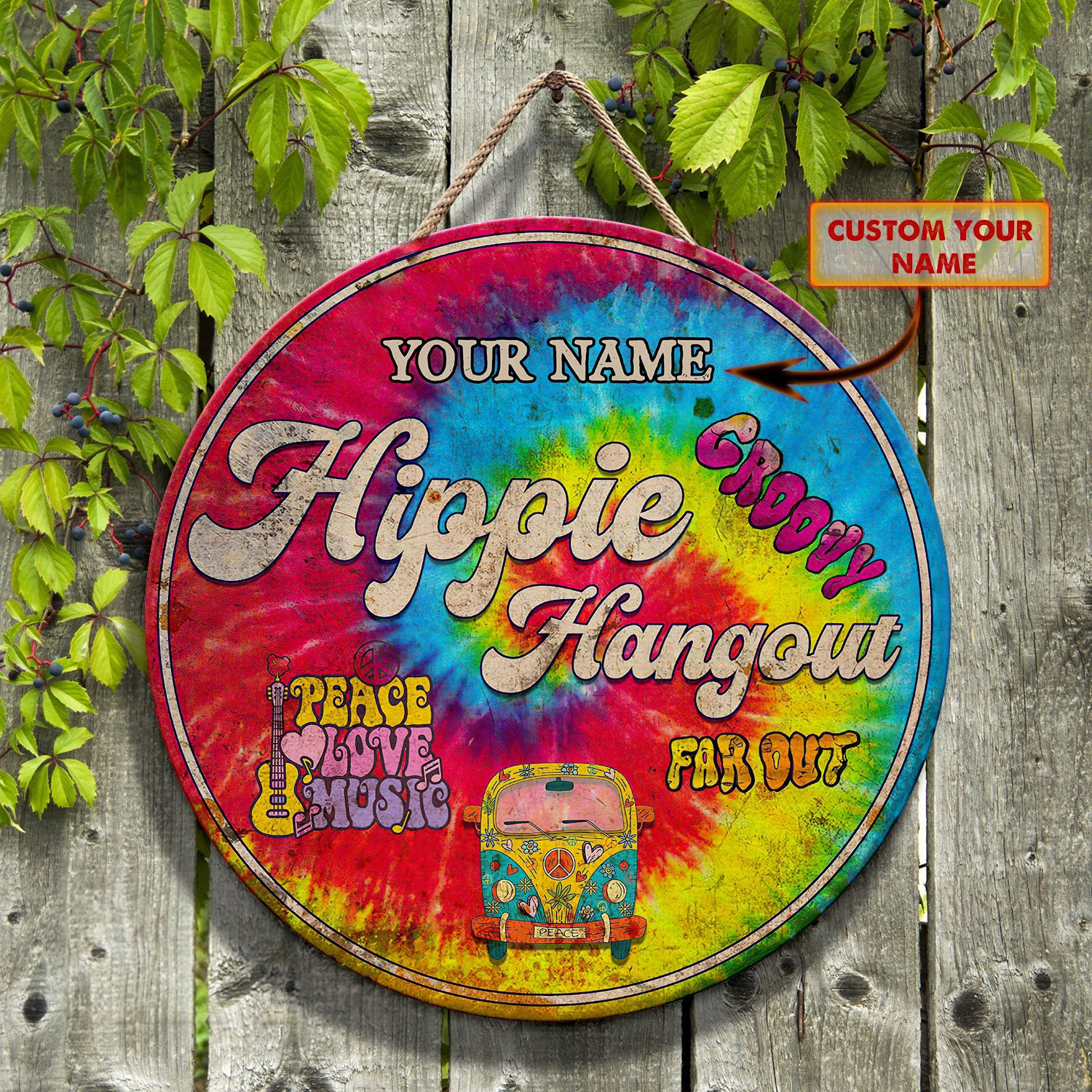 Hippie hangout peace love music far out custom name wooden sign
