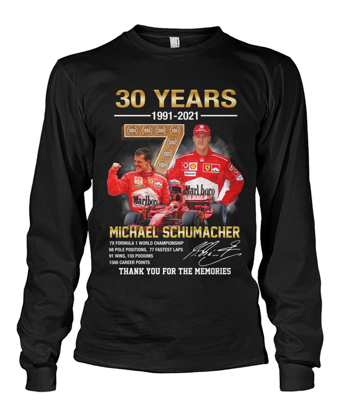 30 years Michael Schumacher thank you for the memories long sleeve tee