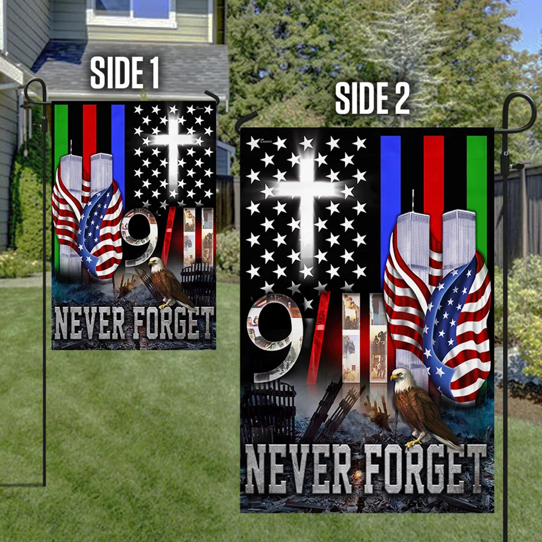 9 11 flag police military and fire thin line - Picture 1