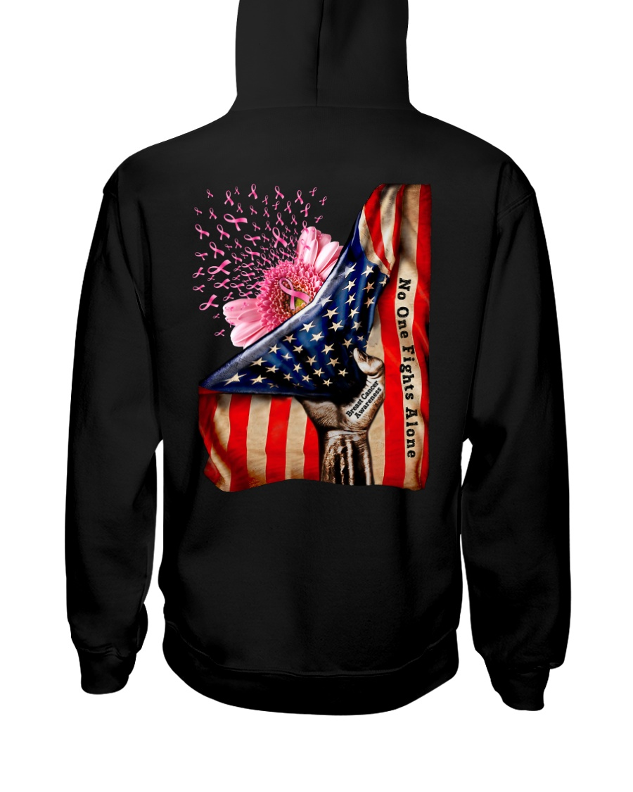 American Flag Breast Cancer Awareness No One Fight Alone Shirt 1