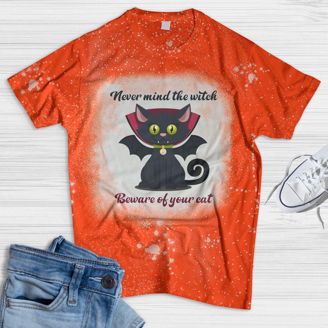 Beware Of Your Cat Bleached T-shirt