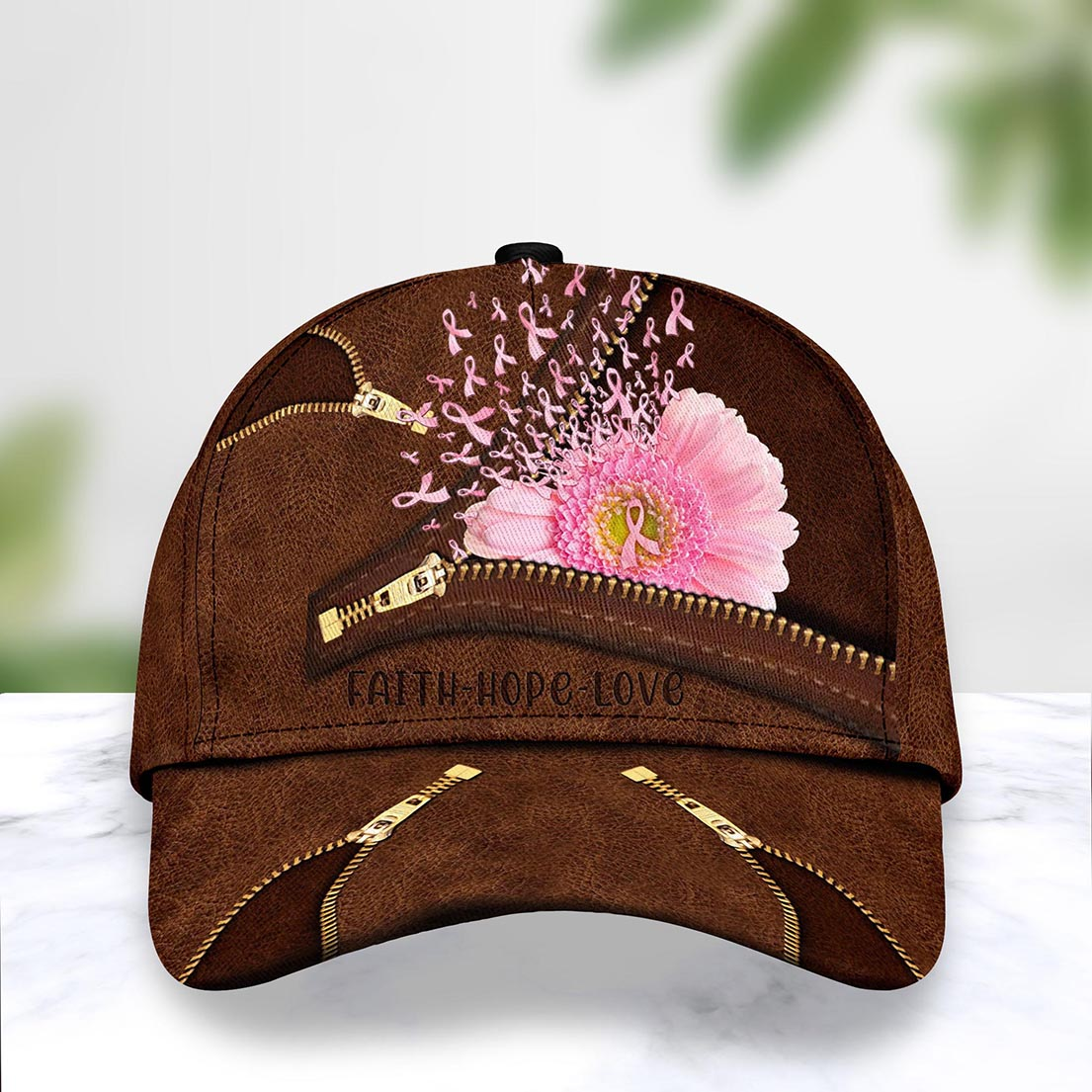 Breast cancer pink flower cap - Picture 1