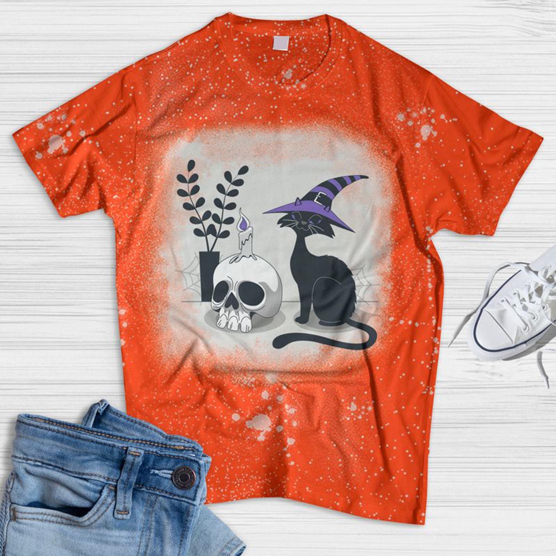 Cat And Skull Bleached T-shirt