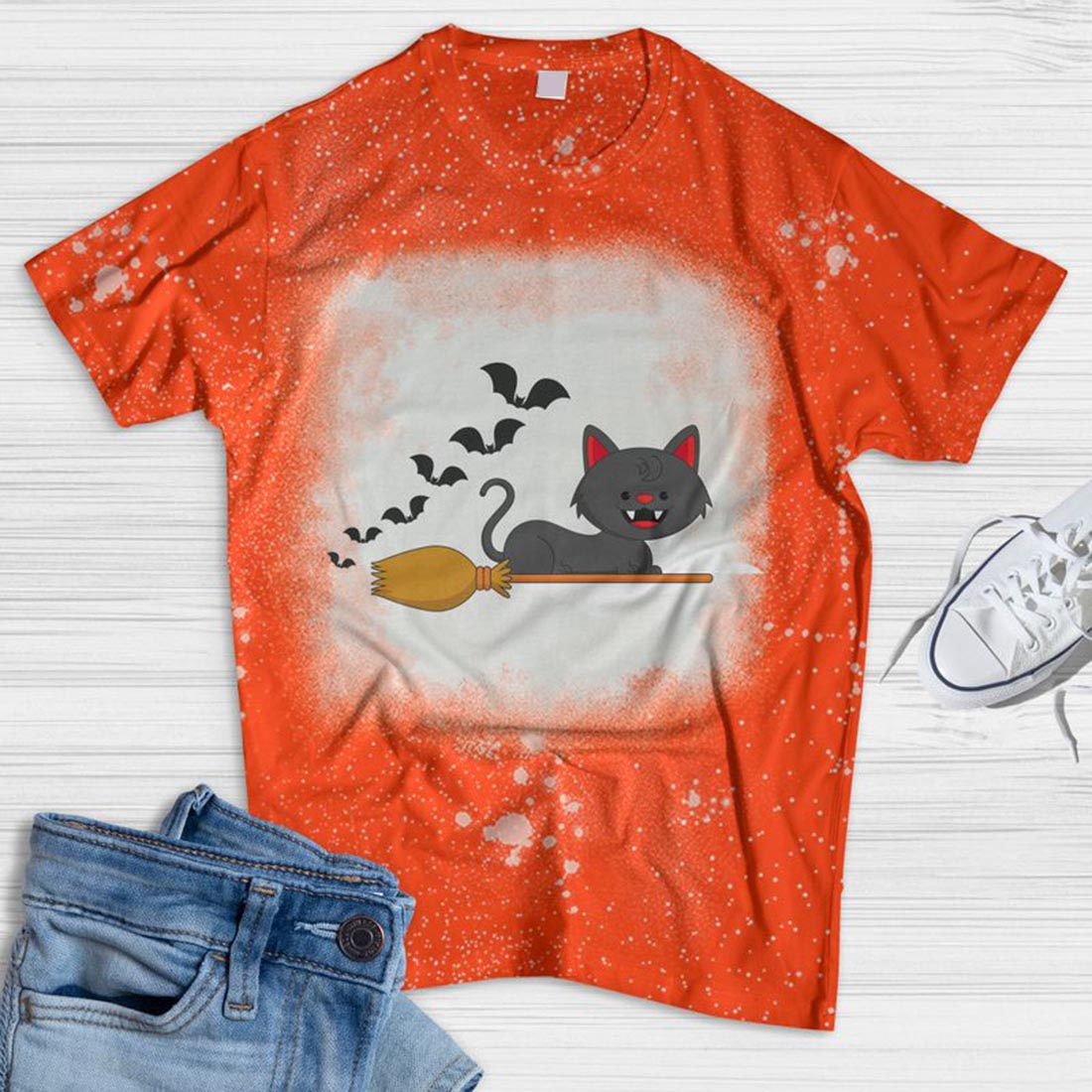 Cat On The Broom Bleached T-shirt