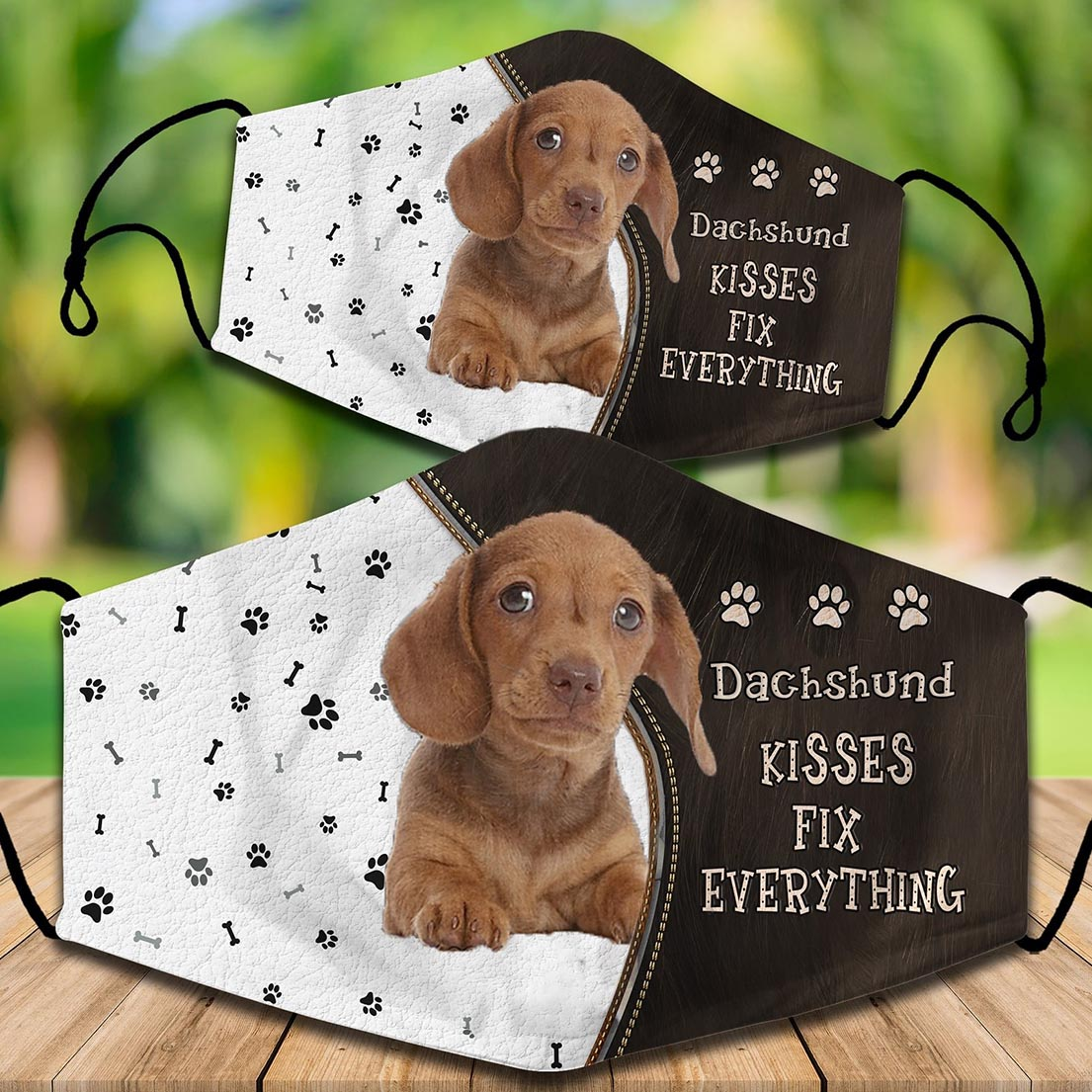Dachshund kisses fix everything face mask - Picture 1