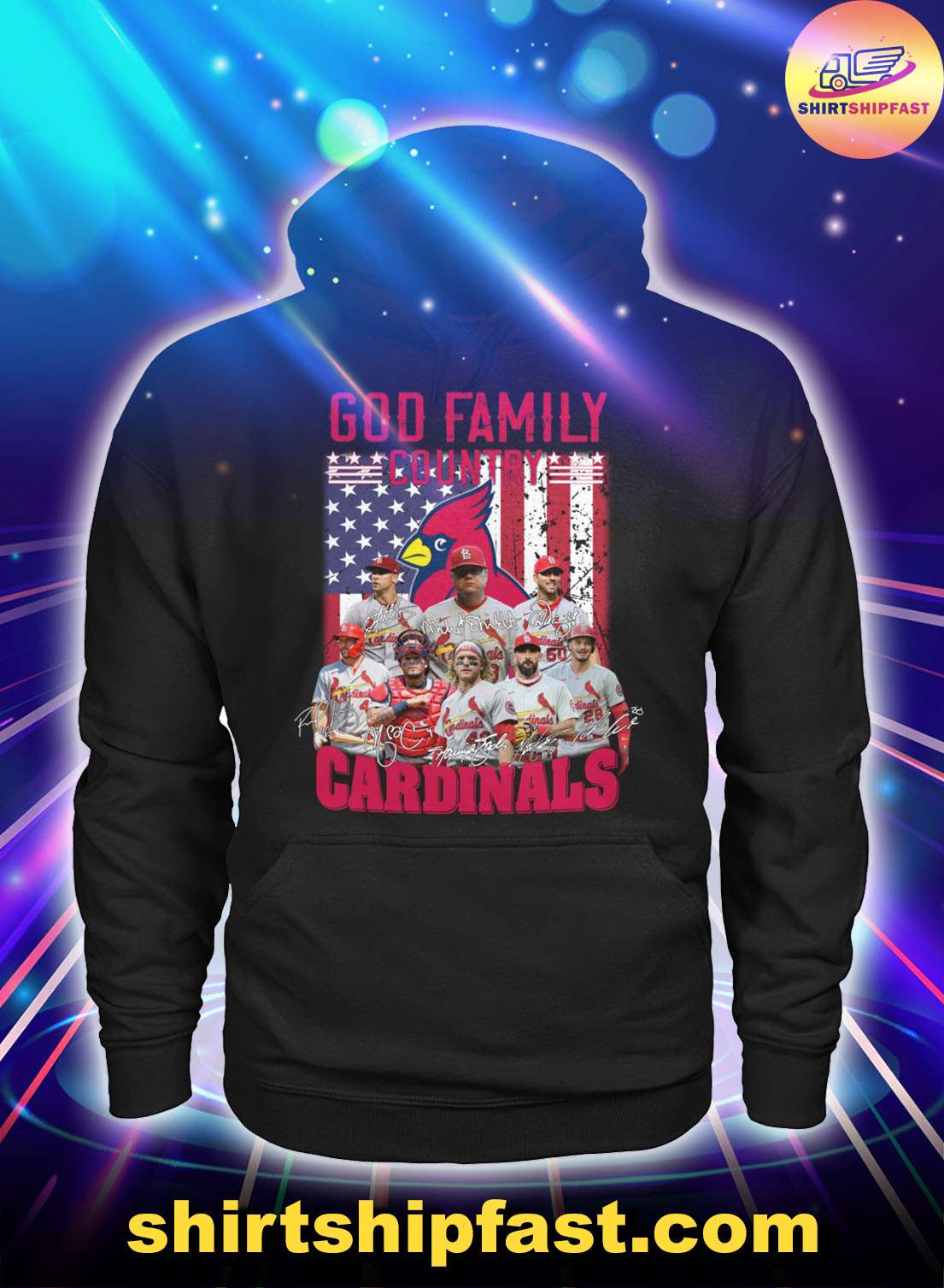 God family country St. Louis Cardinals American flag hoodie