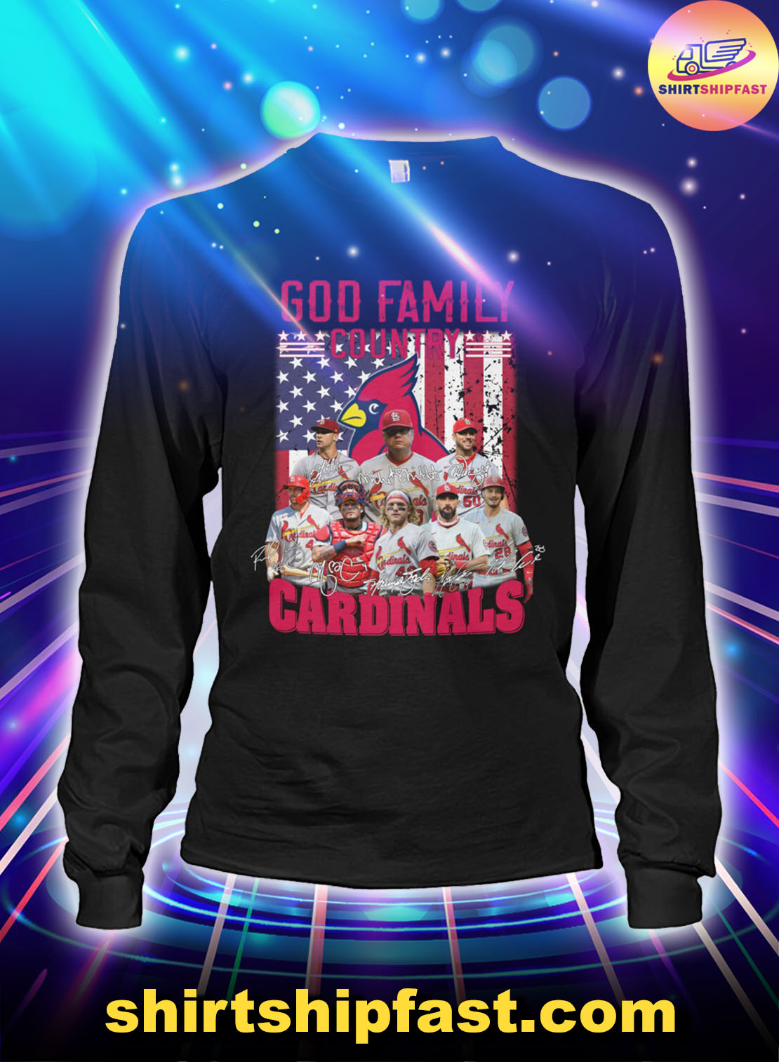 God family country St. Louis Cardinals American flag long sleeve tee