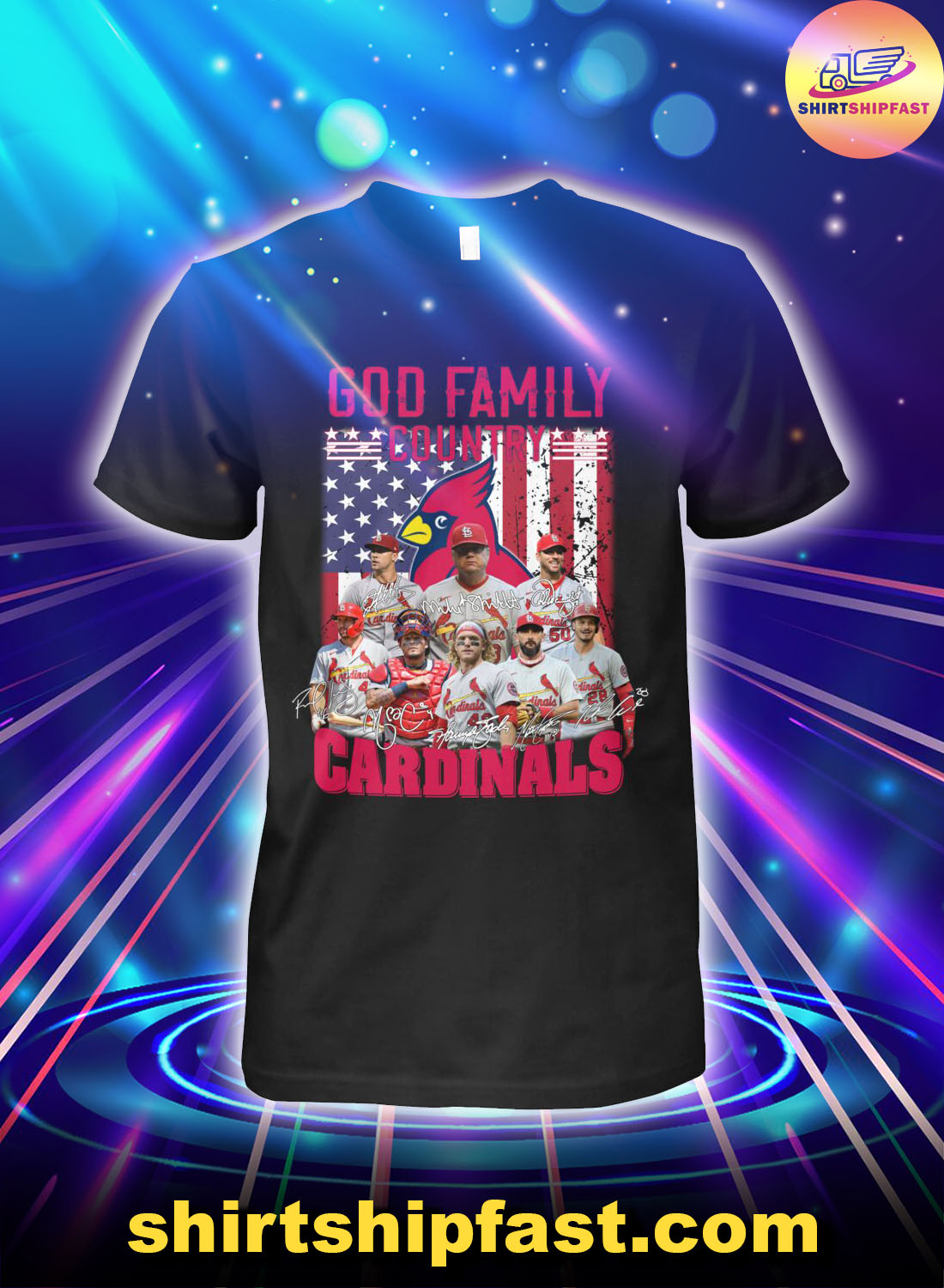 God family country St. Louis Cardinals American flag shirt