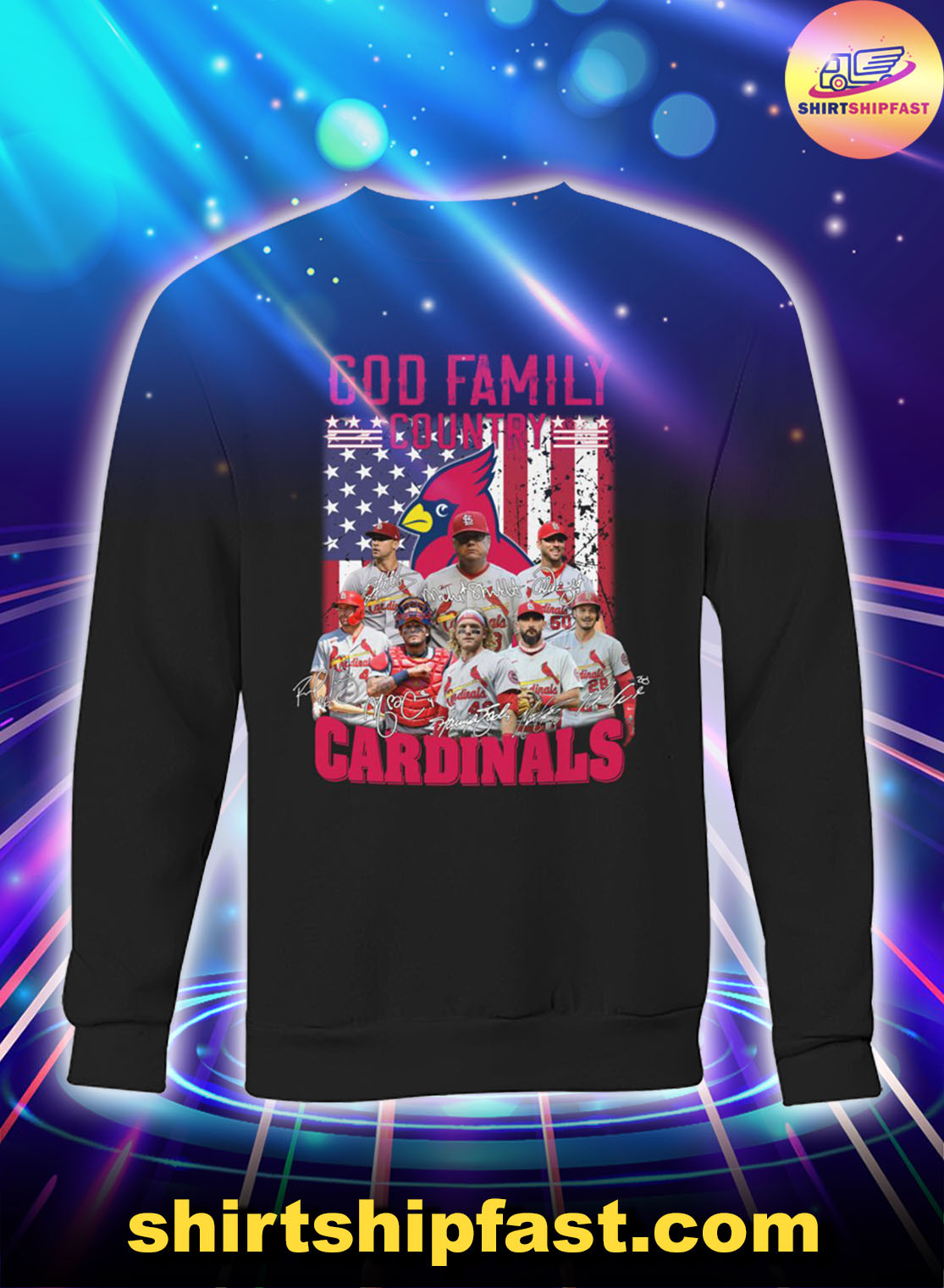 God family country St. Louis Cardinals American flag sweatshirt