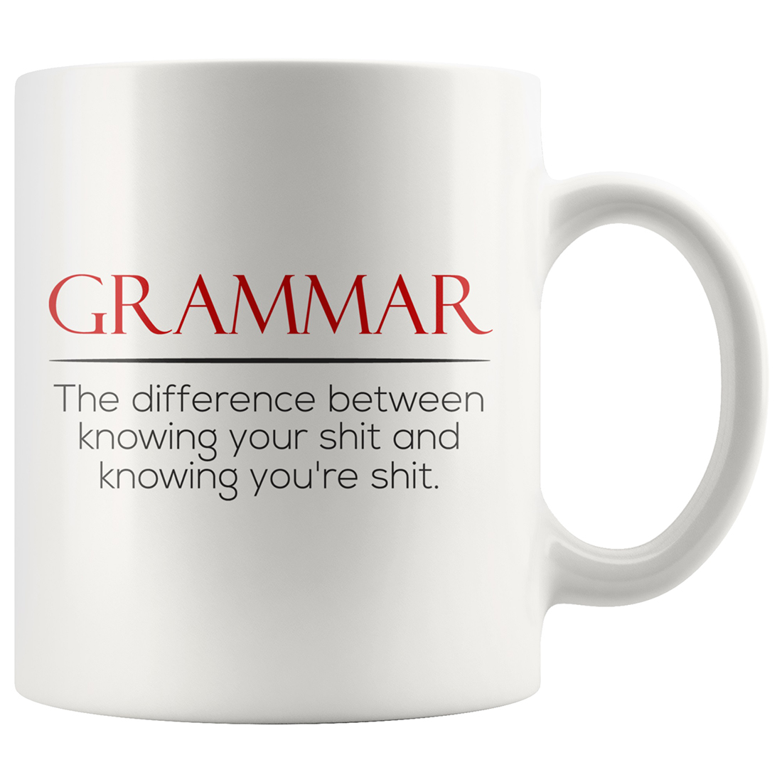 Grammar The difference between knowing your shit white mug