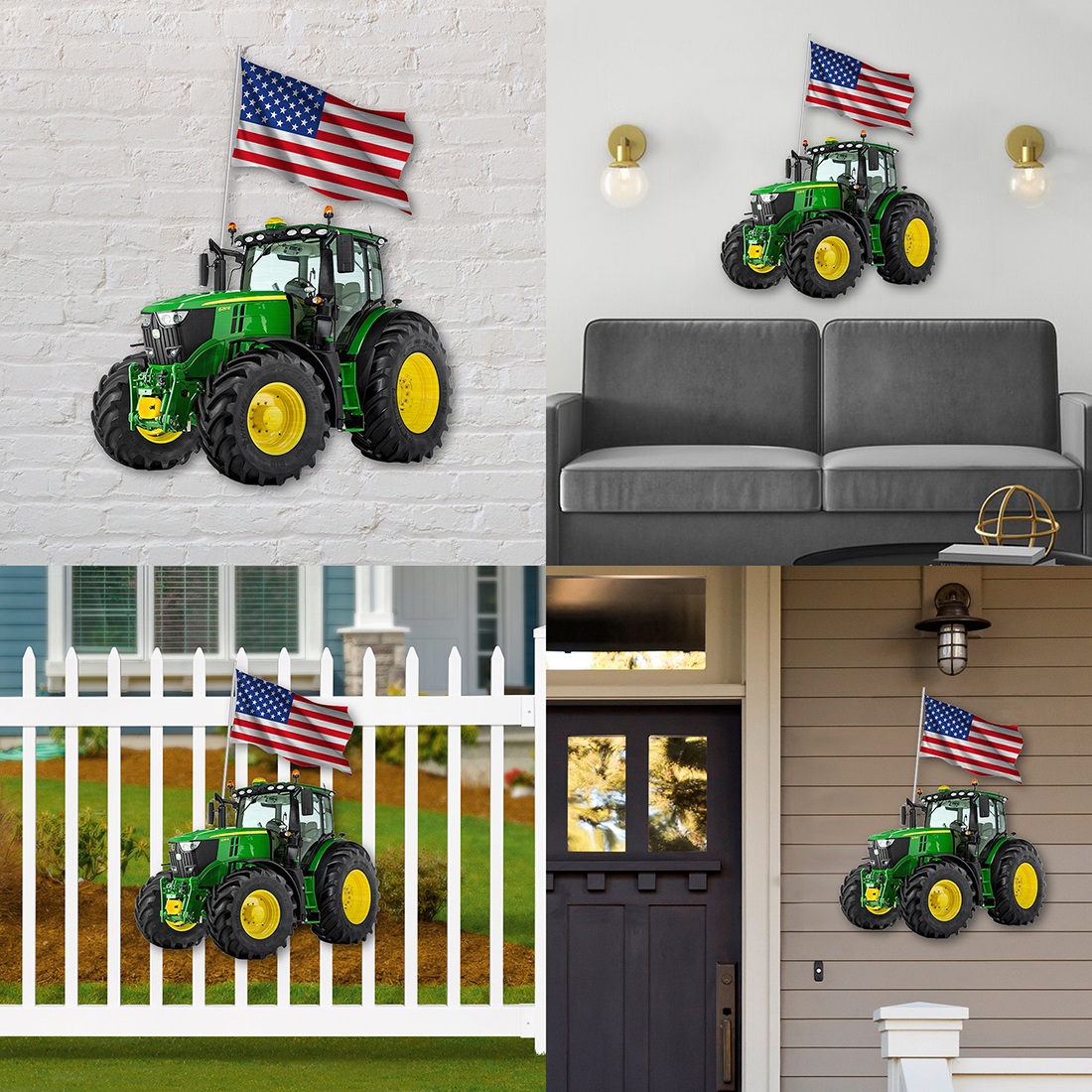 Green tractor shaped metal sign