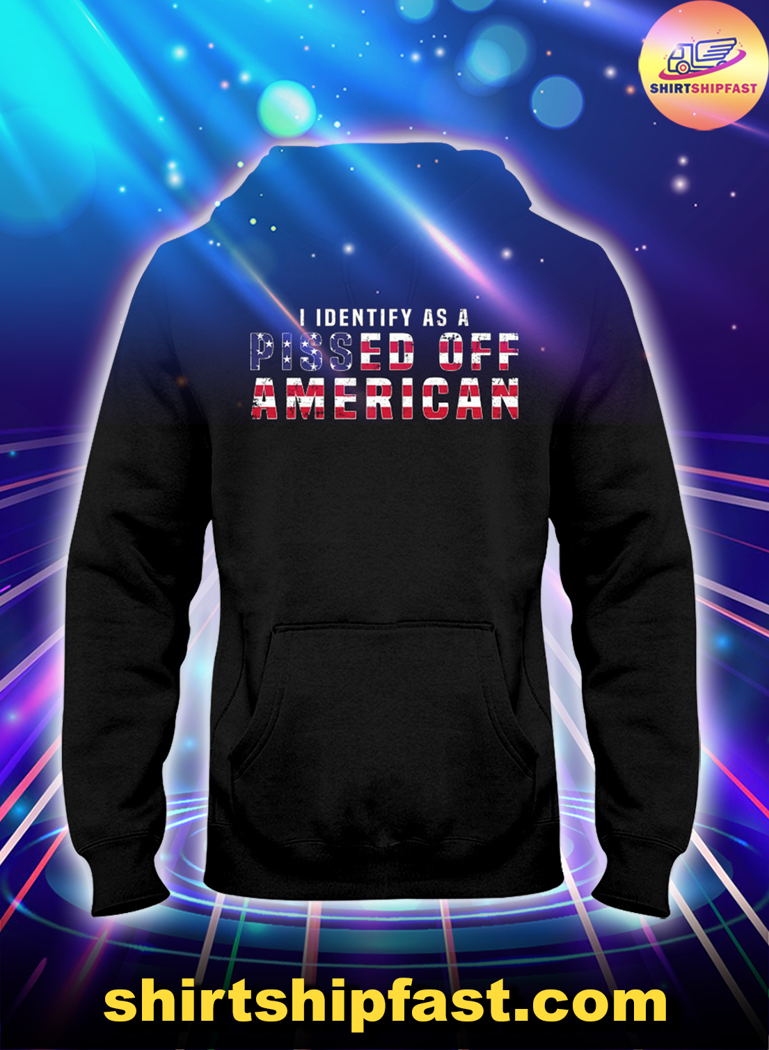 I identify as a pissed off American US flag hoodie