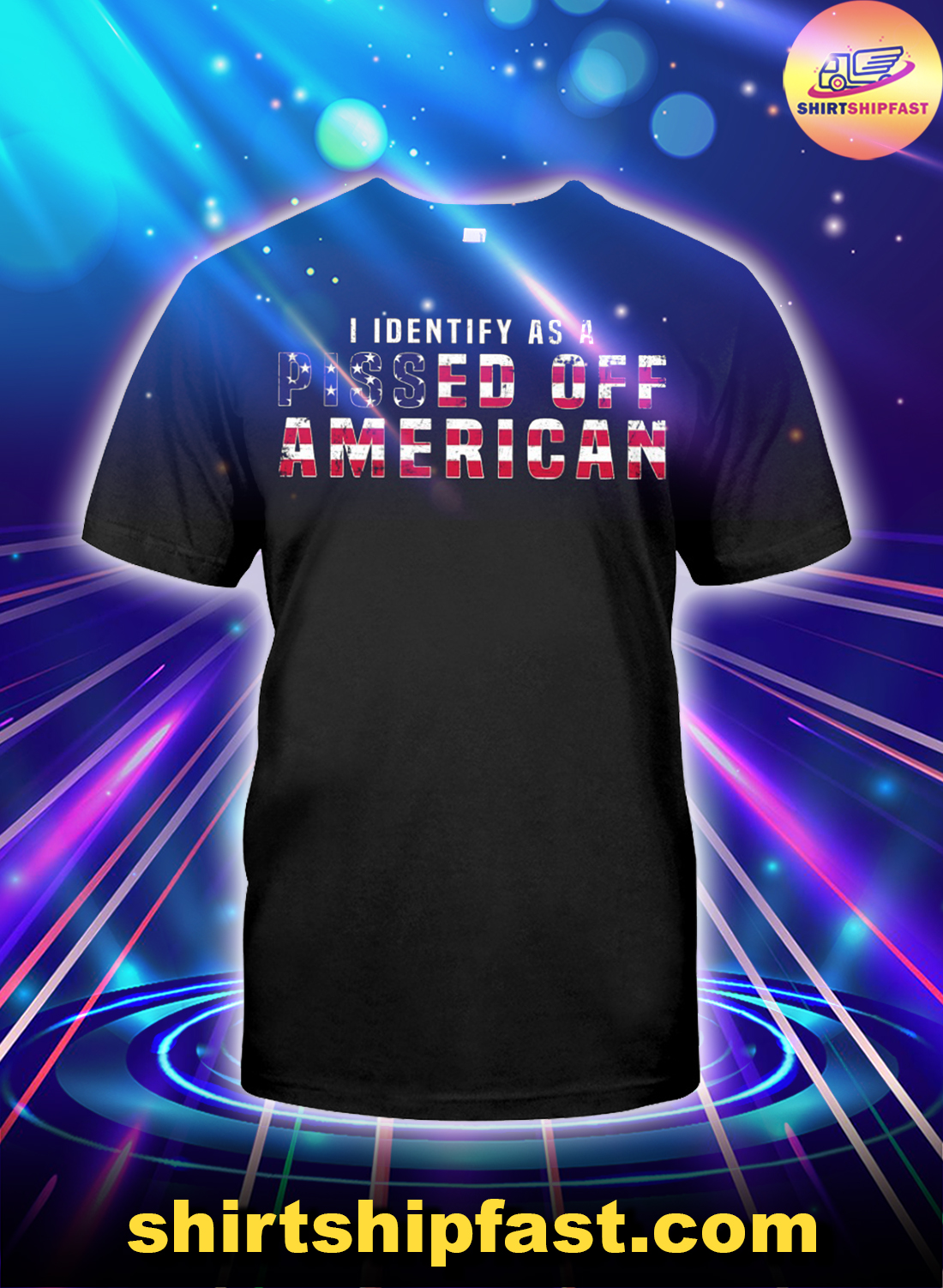 I identify as a pissed off American US flag shirt