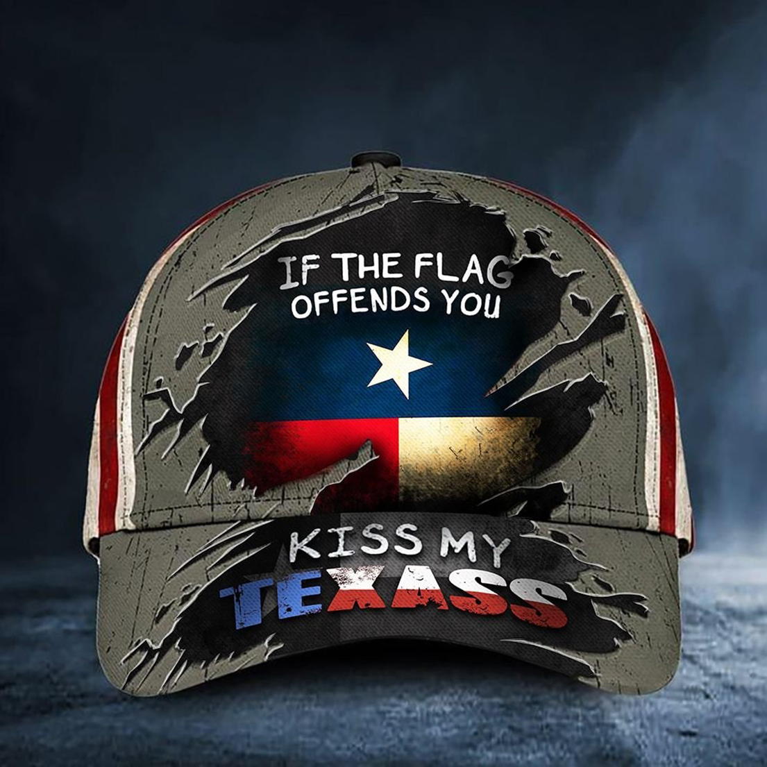 If the flag offends you kiss my texass classic cap hat - Picture 1