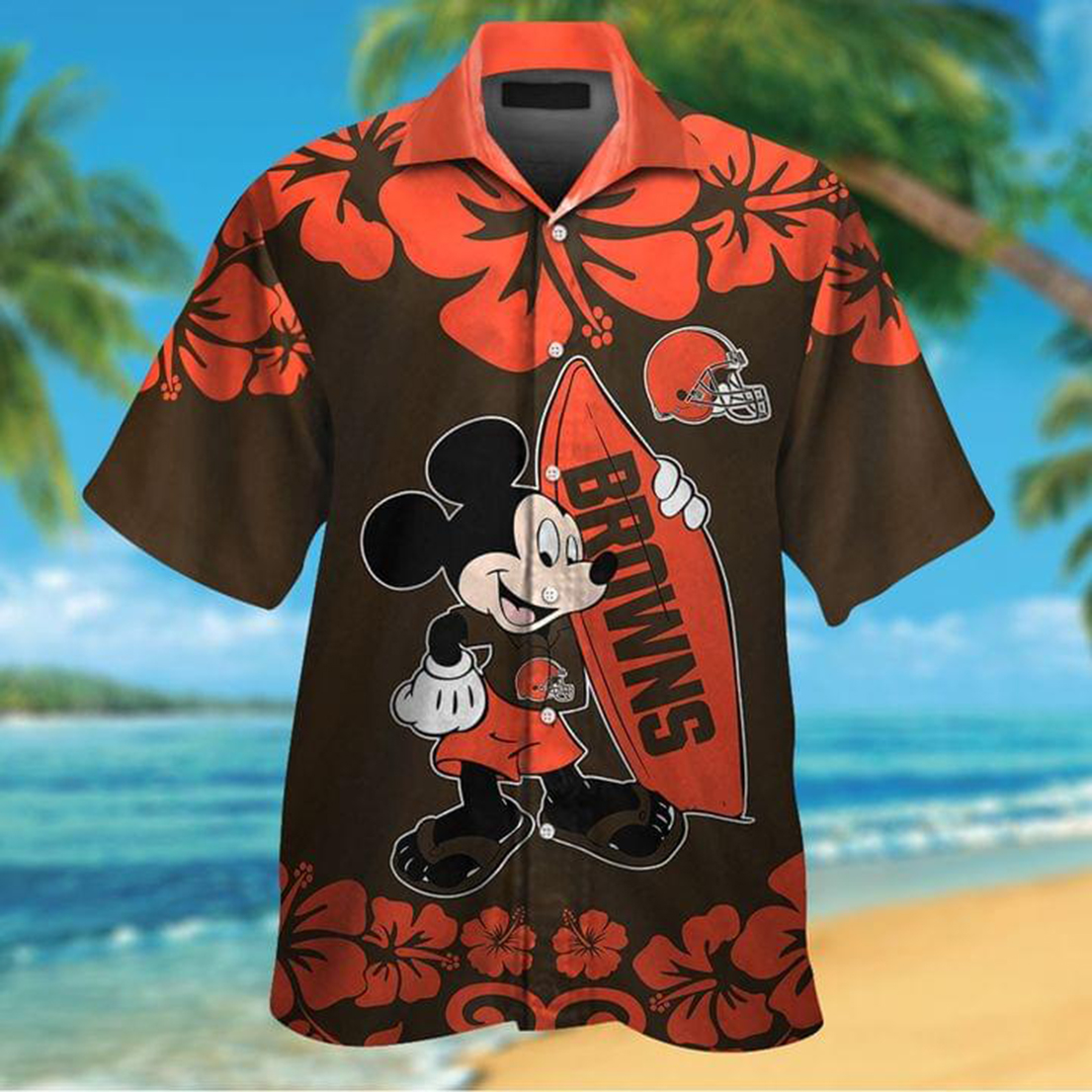 Mickey mouse and surfboard Cleveland Browns hawaiian shirt and short sleeve shirt - Picture 1