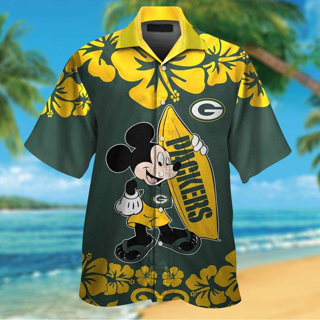 Mickey mouse and surfboard Green Bay Packers hawaiian shirt - Picture 1