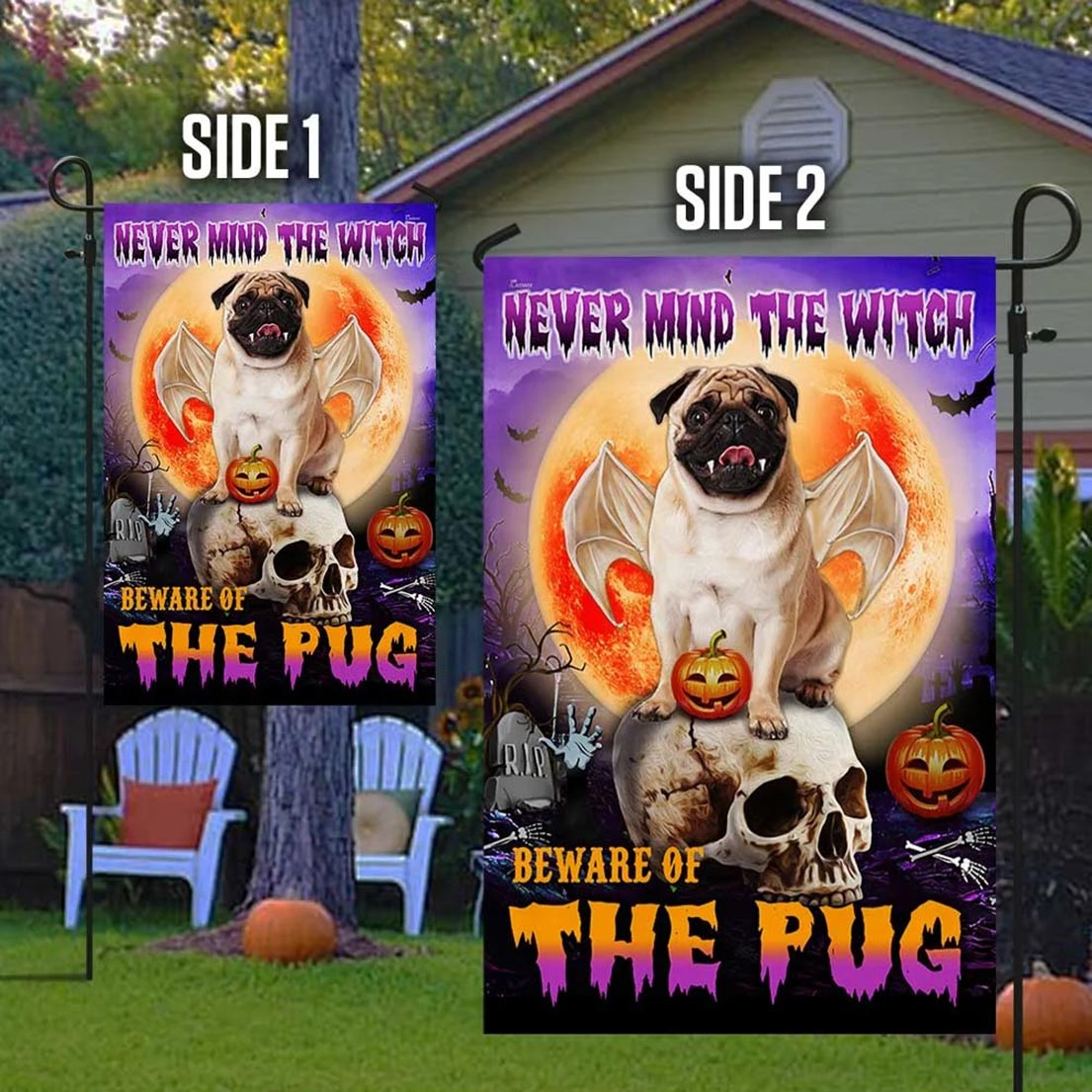 Never mind the witch Beware of the pug halloween flag - Picture 1