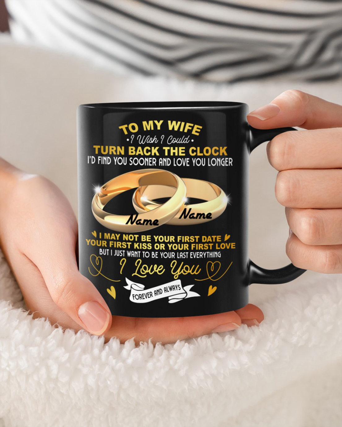 Personalized name Rings To my wife i wish i could mug - Picture 1