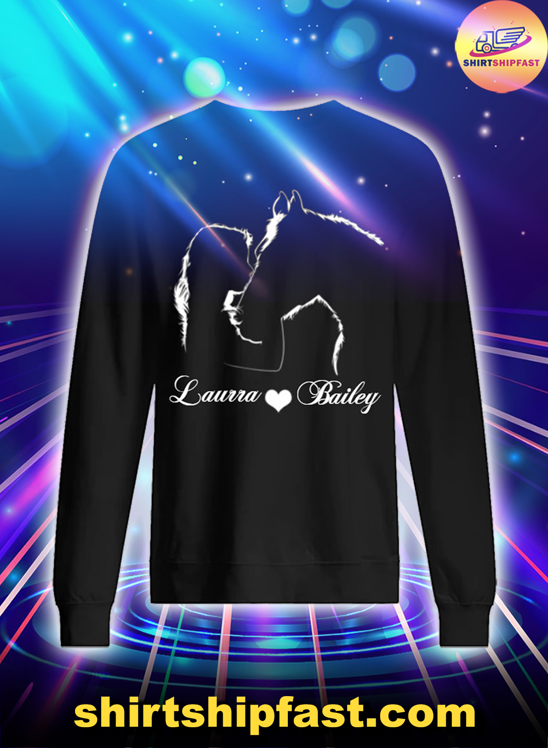 Personalized name girl and horse sweatshirt