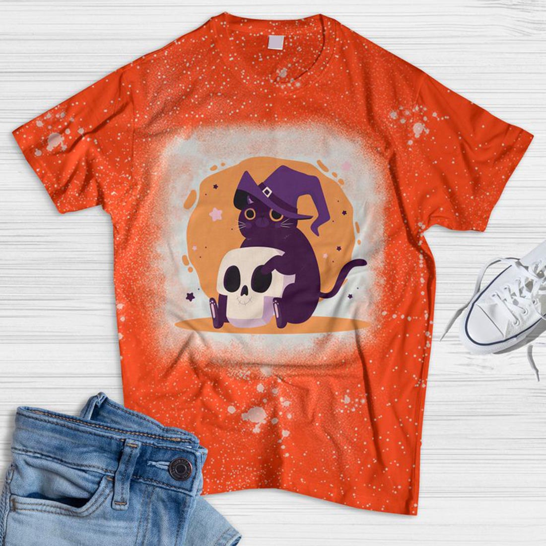 Purple Cat And Skull Bleached T-shirt