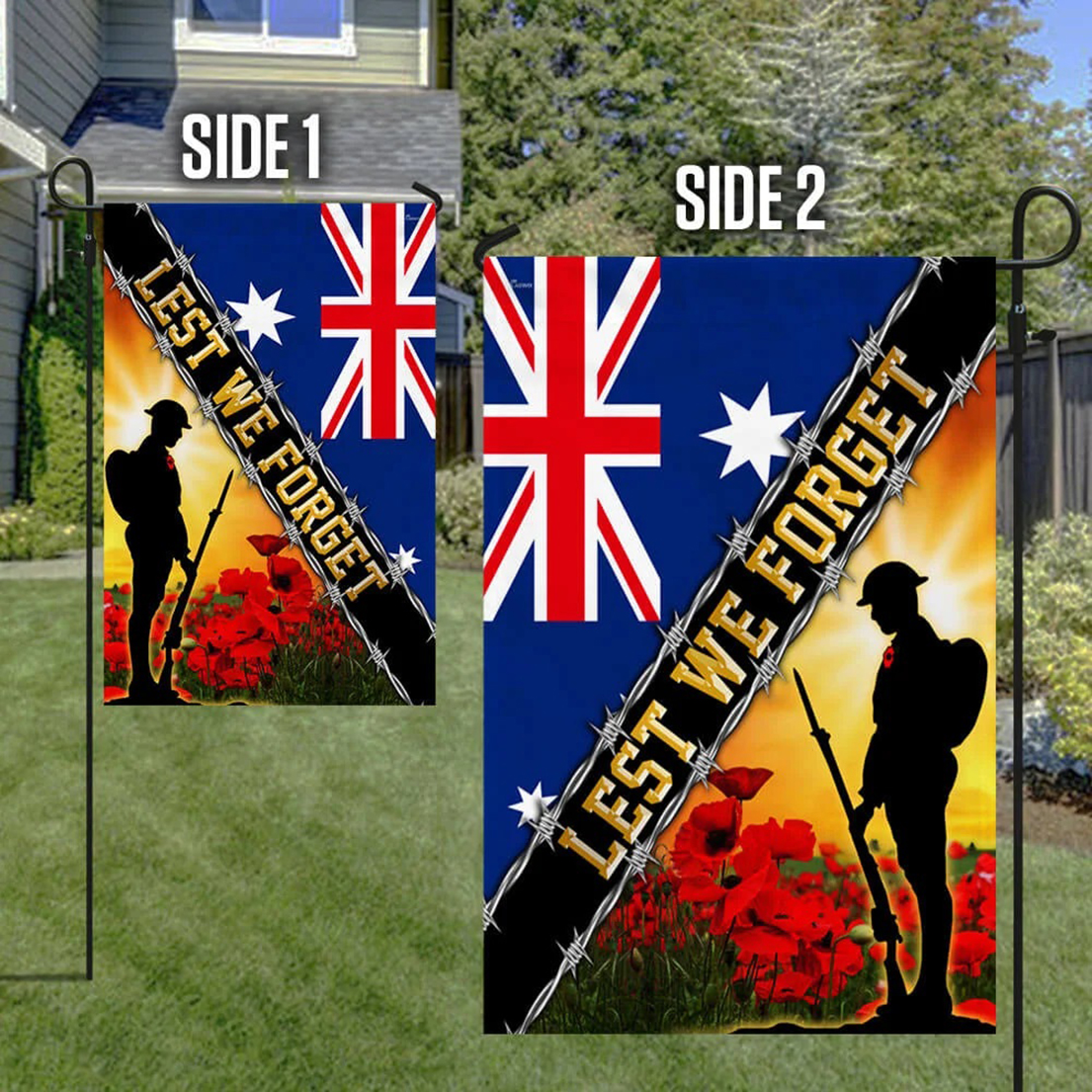 Remembrance day poppy Lest we forget Australia veteran flag - Picture 1