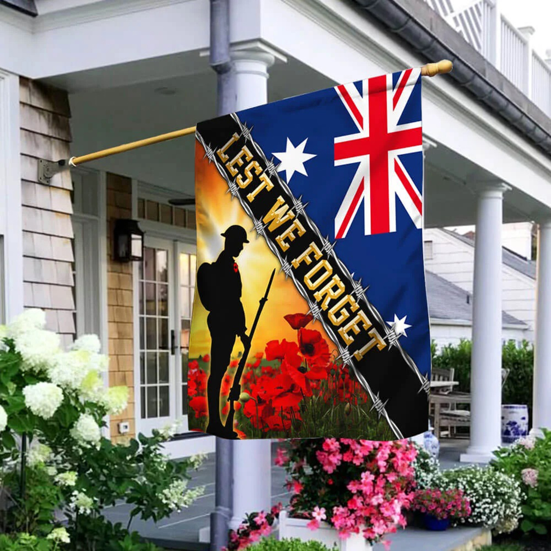 Remembrance day poppy Lest we forget Australia veteran flag - Picture 2