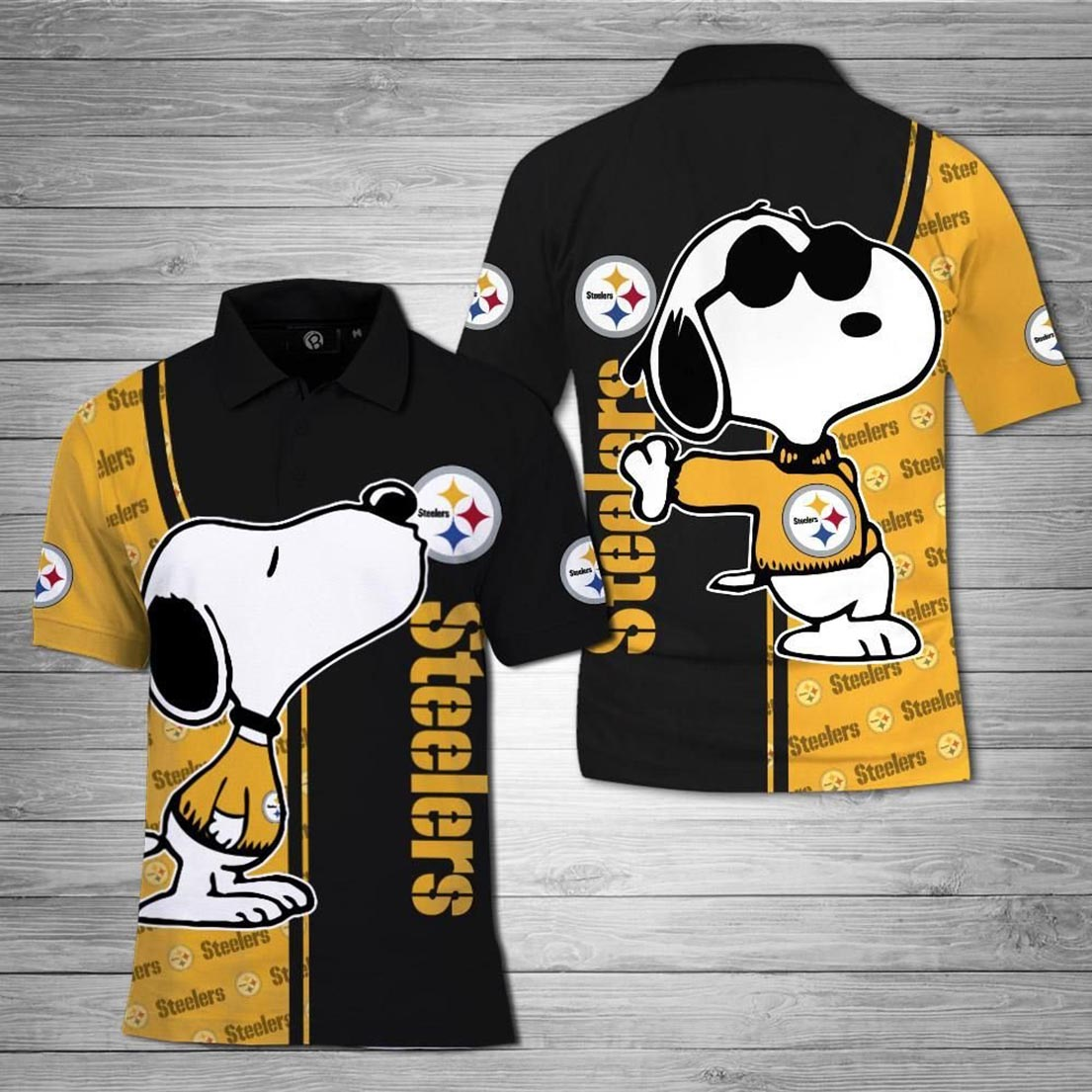 Snoopy And Pittsburgh Steelers 3d polo shirt