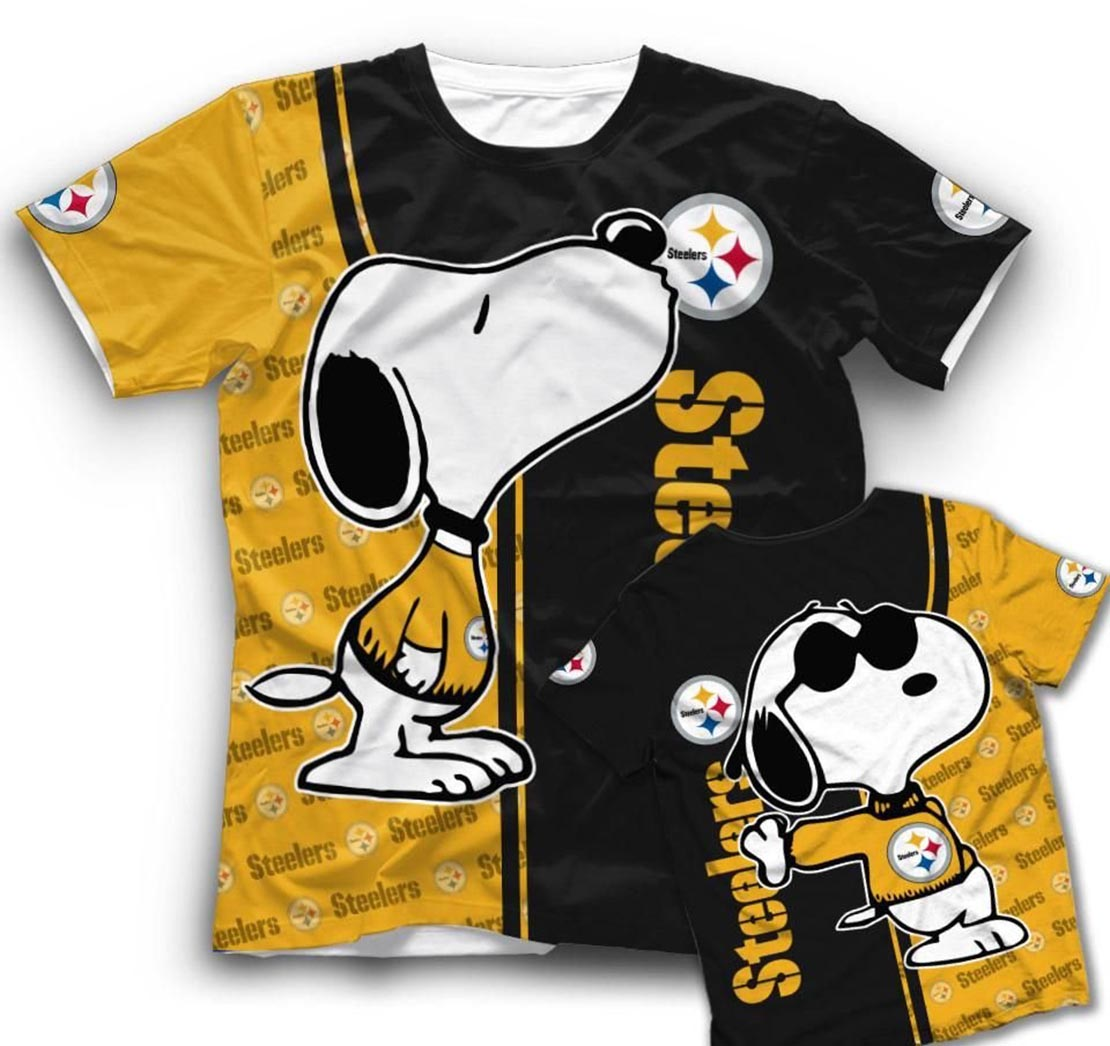 Snoopy And Pittsburgh Steelers 3d t-shirt