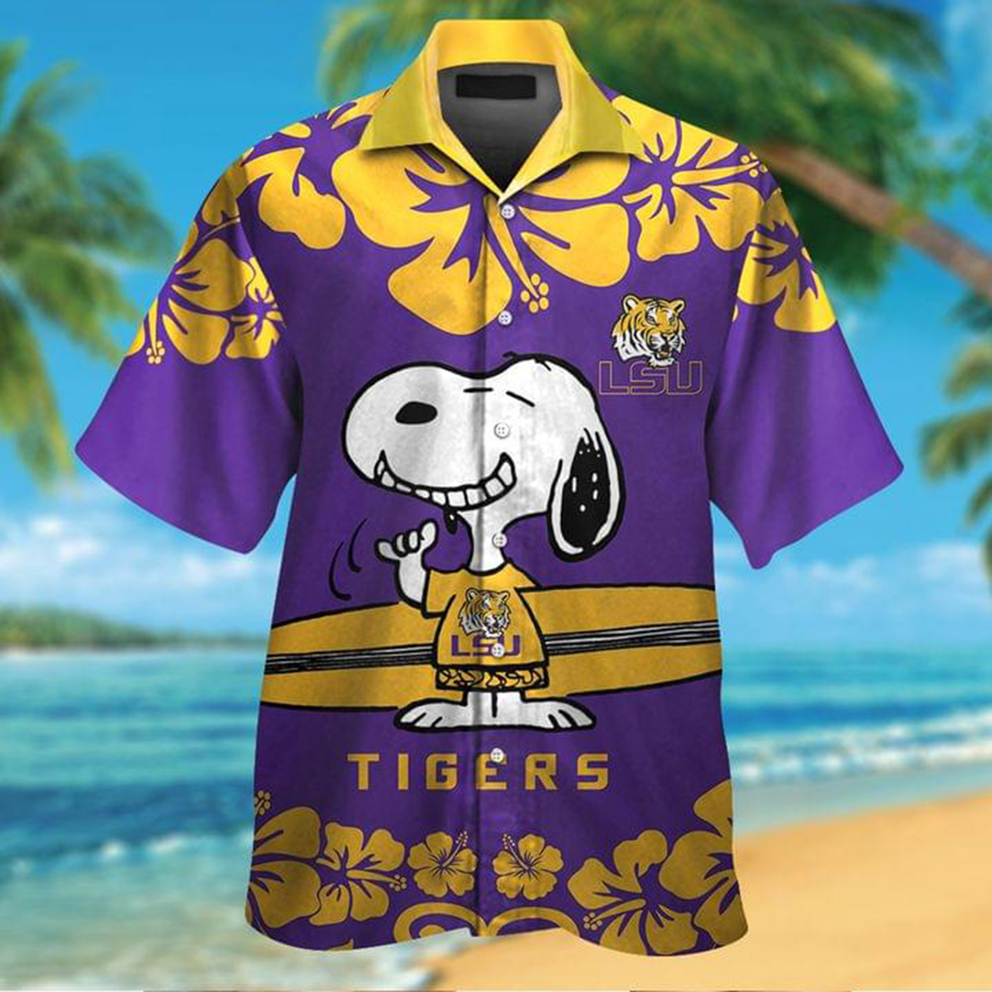 Snoopy and surfboard LSU Tigers hawaiian shirt - Picture 1