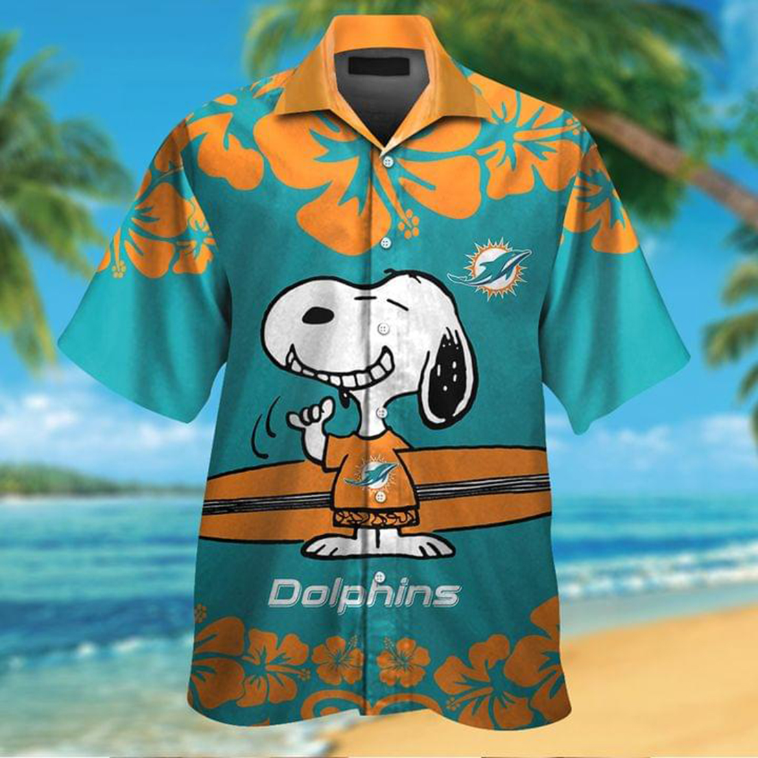 Snoopy and surfboard Miami Dolphins hawaiian shirt - Picture 1
