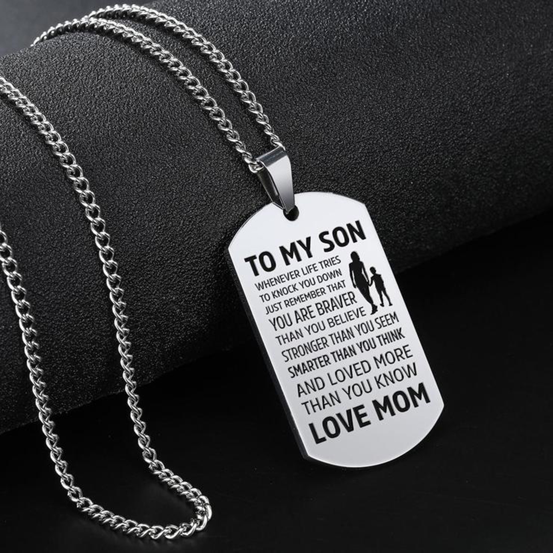 To my son Whenever life tries to knock you down love mom necklace dog tag - Picture 1