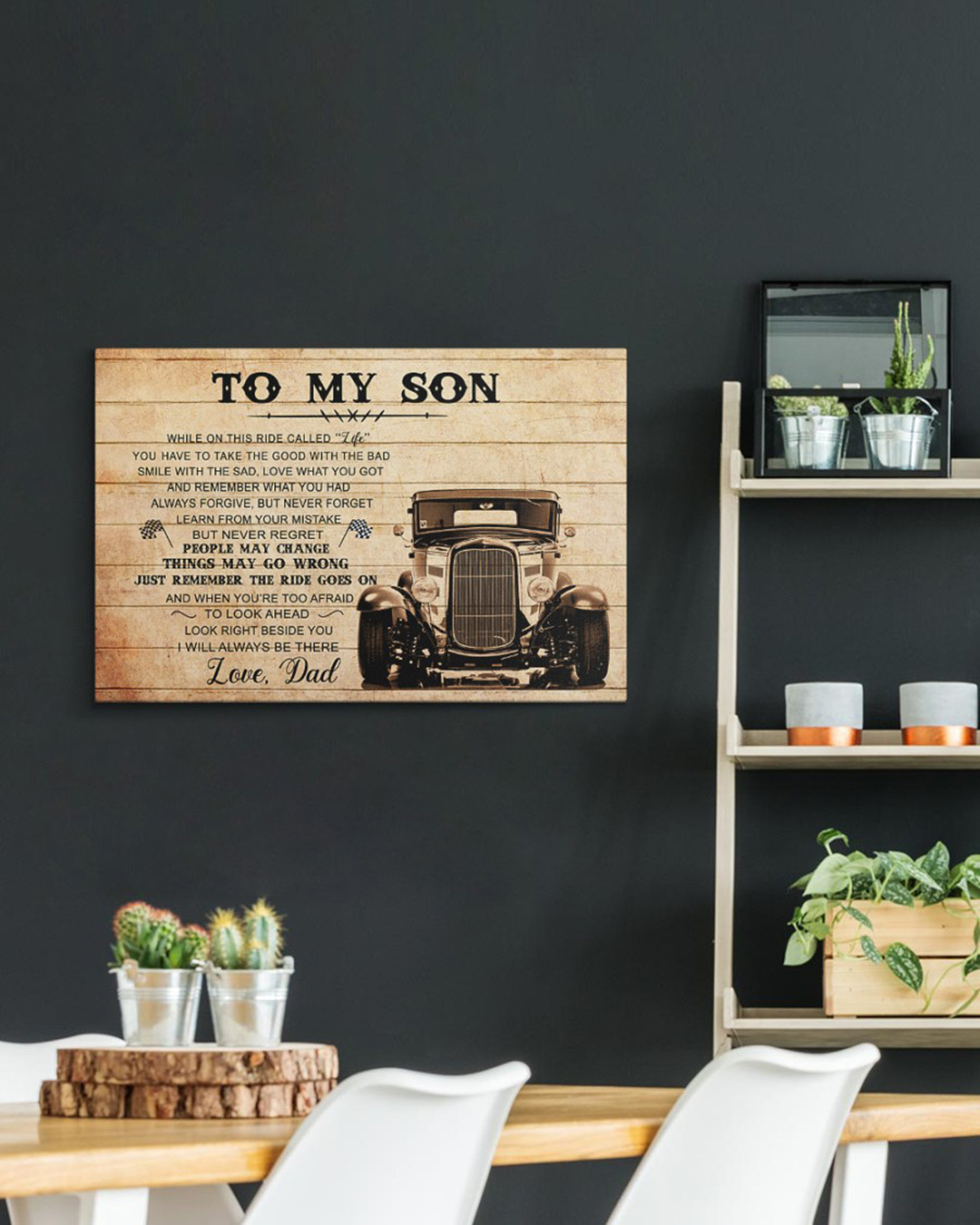 To my son love dad hot rod canvas and poster - Picture 1