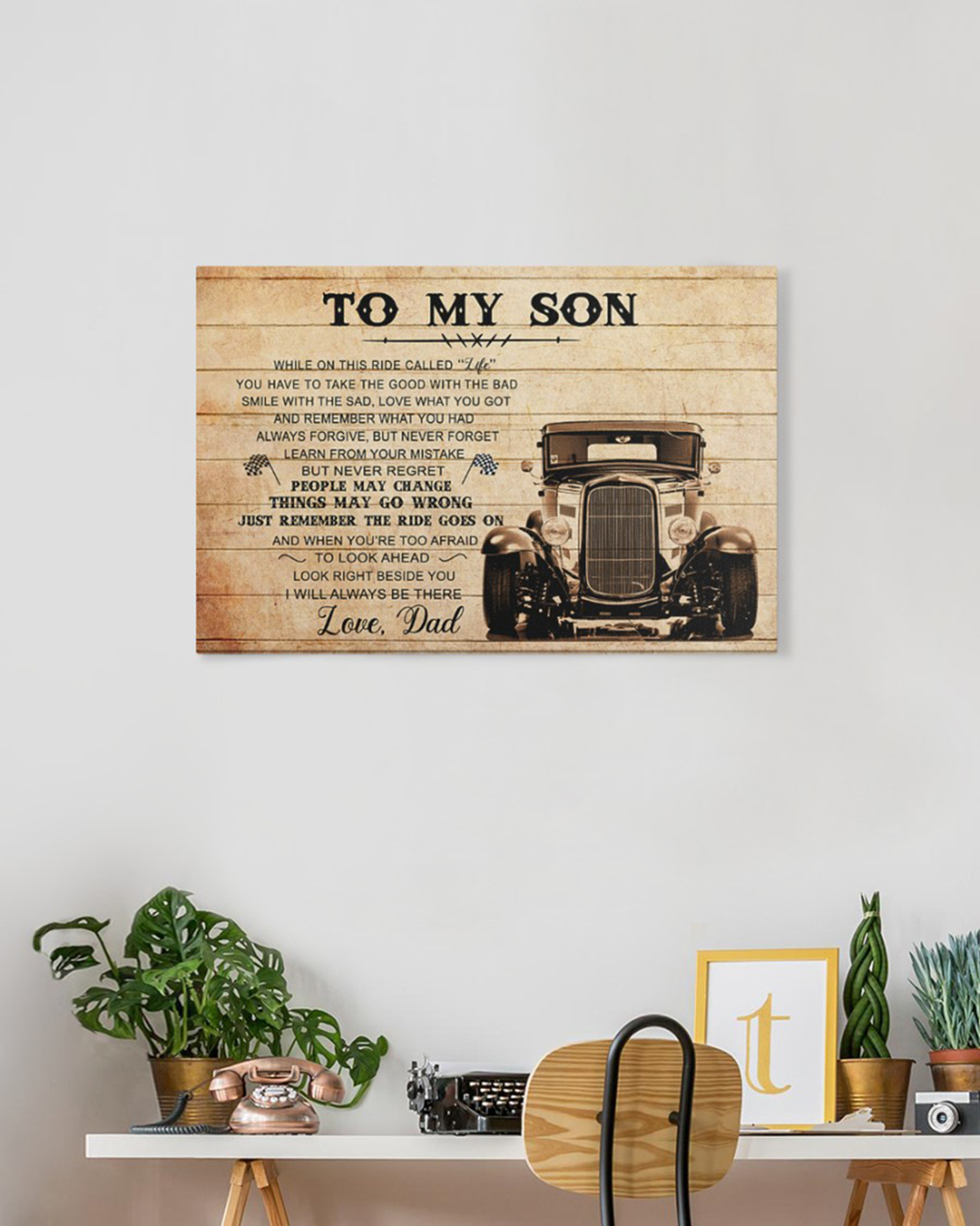 To my son love dad hot rod canvas and poster - Picture 2