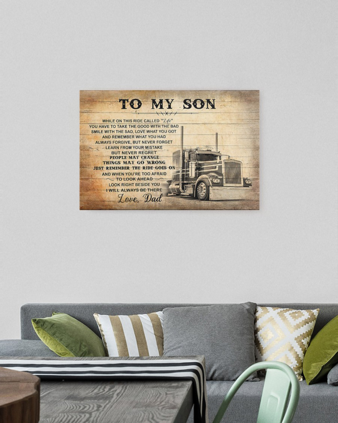 To my son love dad truck driver canvas and poster - Picture 1