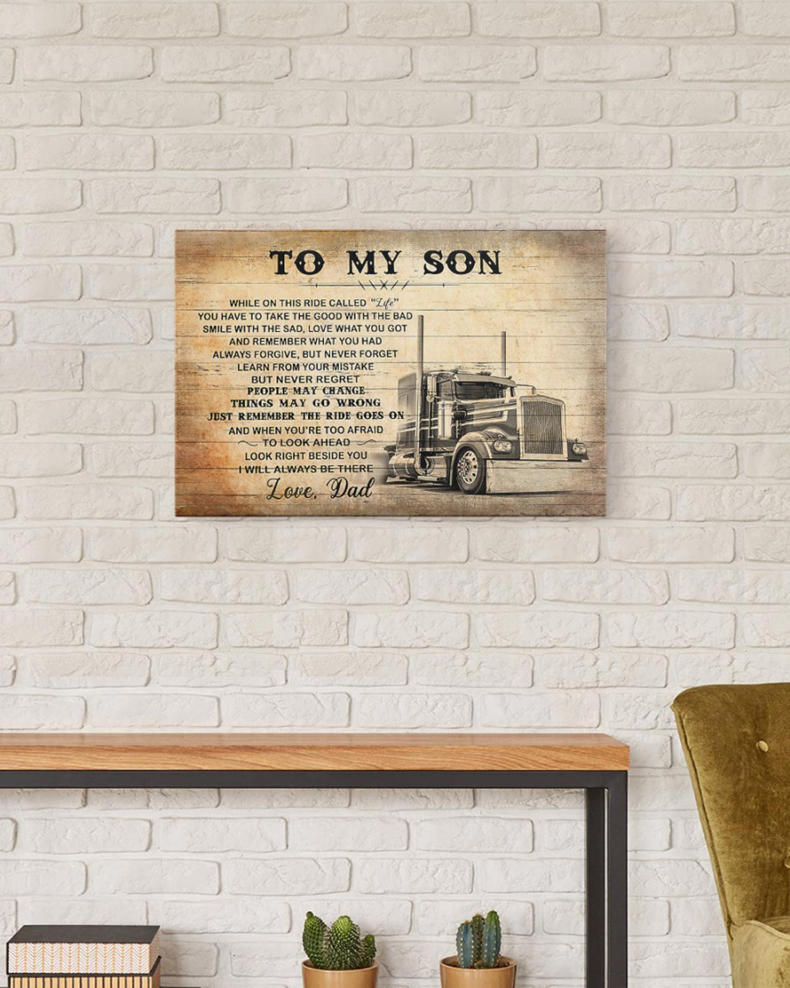 To my son love dad truck driver canvas and poster - Picture 2